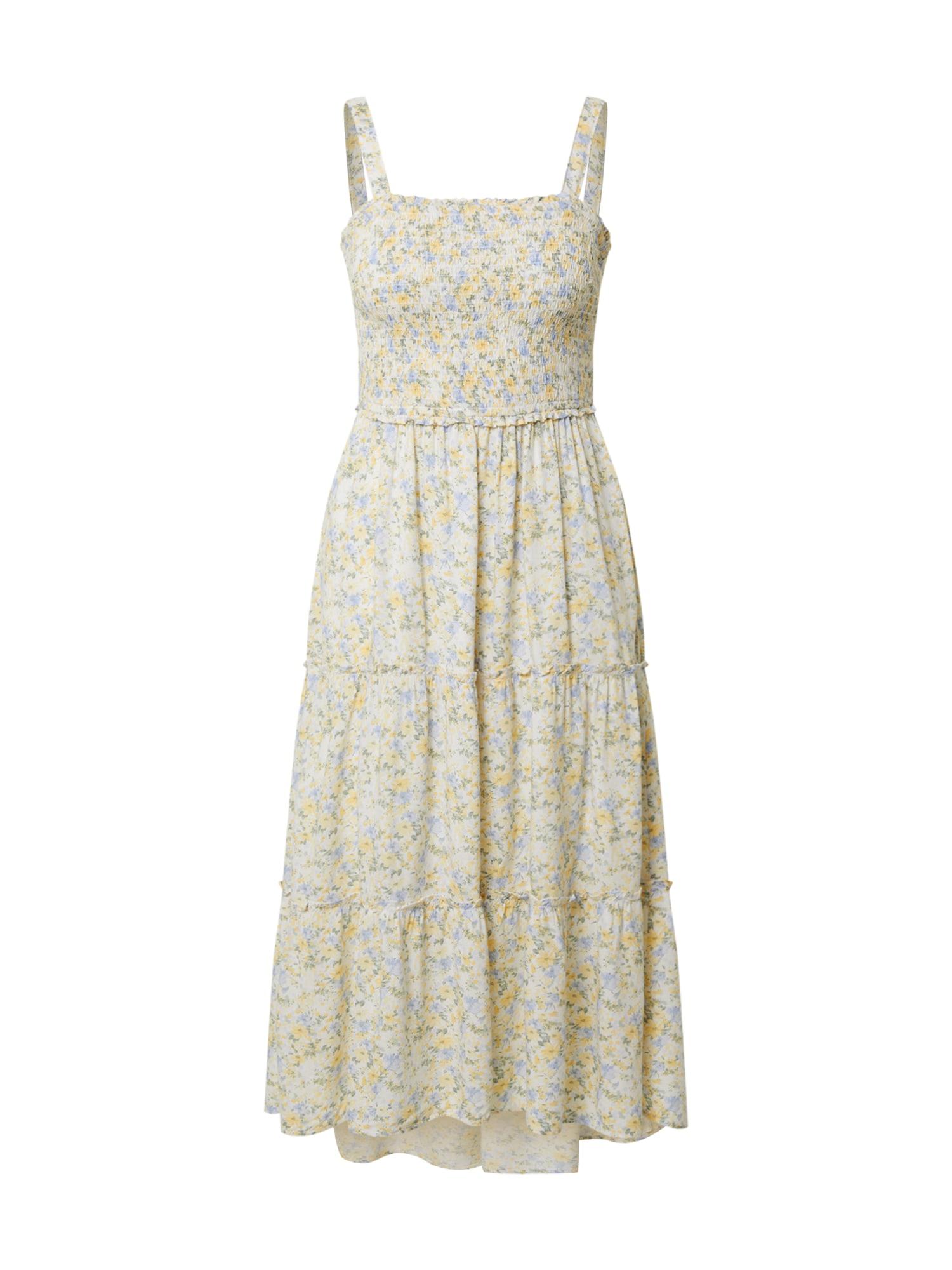 HOLLISTER Vasarinė suknelė balta / šviesiai mėlyna / geltona / alyvuogių spalva