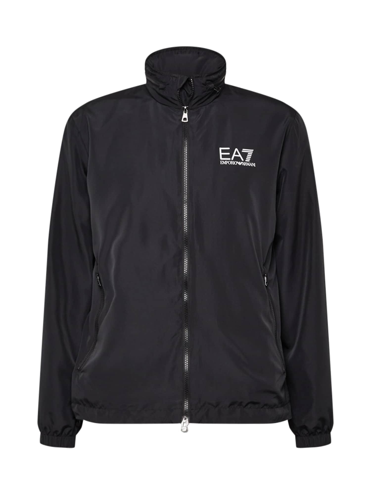 EA7 Emporio Armani Demisezoninė striukė juoda / balta