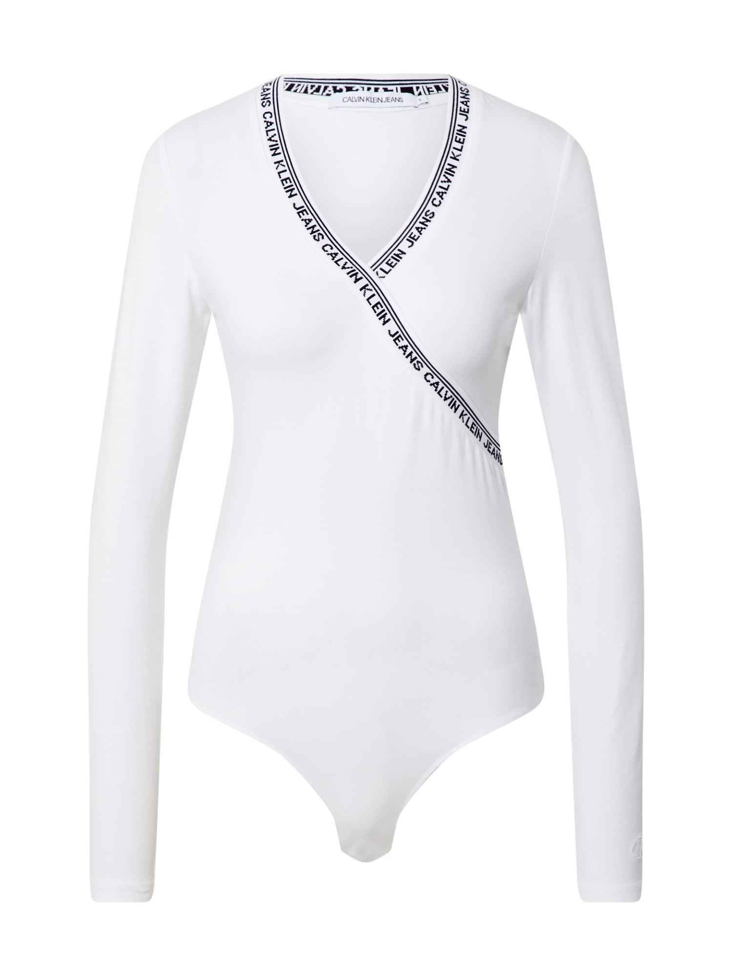 Calvin Klein Jeans Marškinėliai-glaustinukė balta / juoda