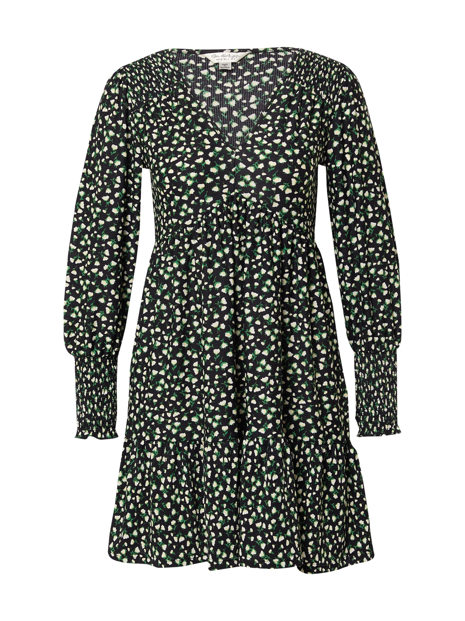 Miss Selfridge Šaty  černá / zelená / béžová