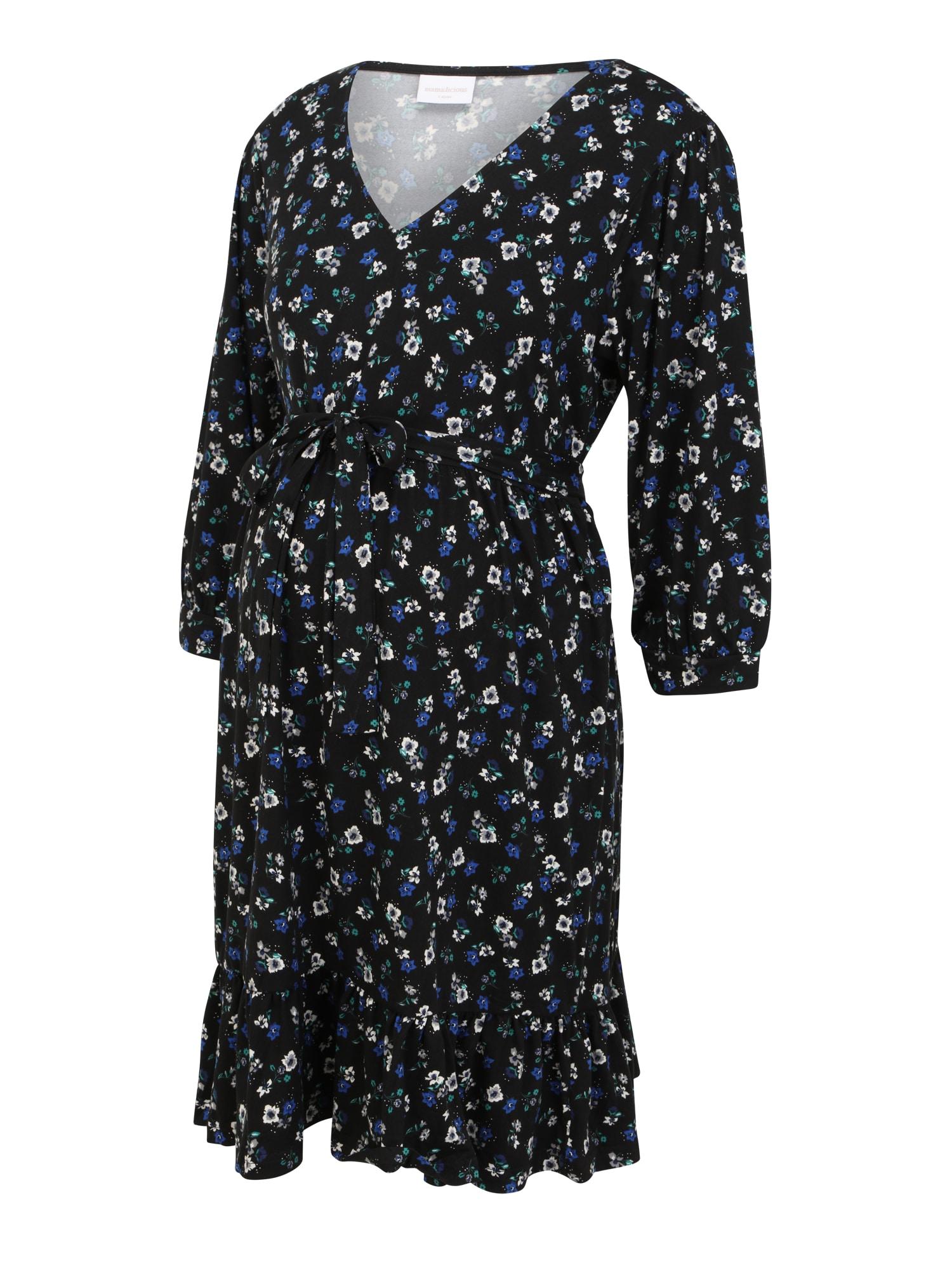 MAMALICIOUS Suknelė 'MLKADY' juoda / balta / mėlyna