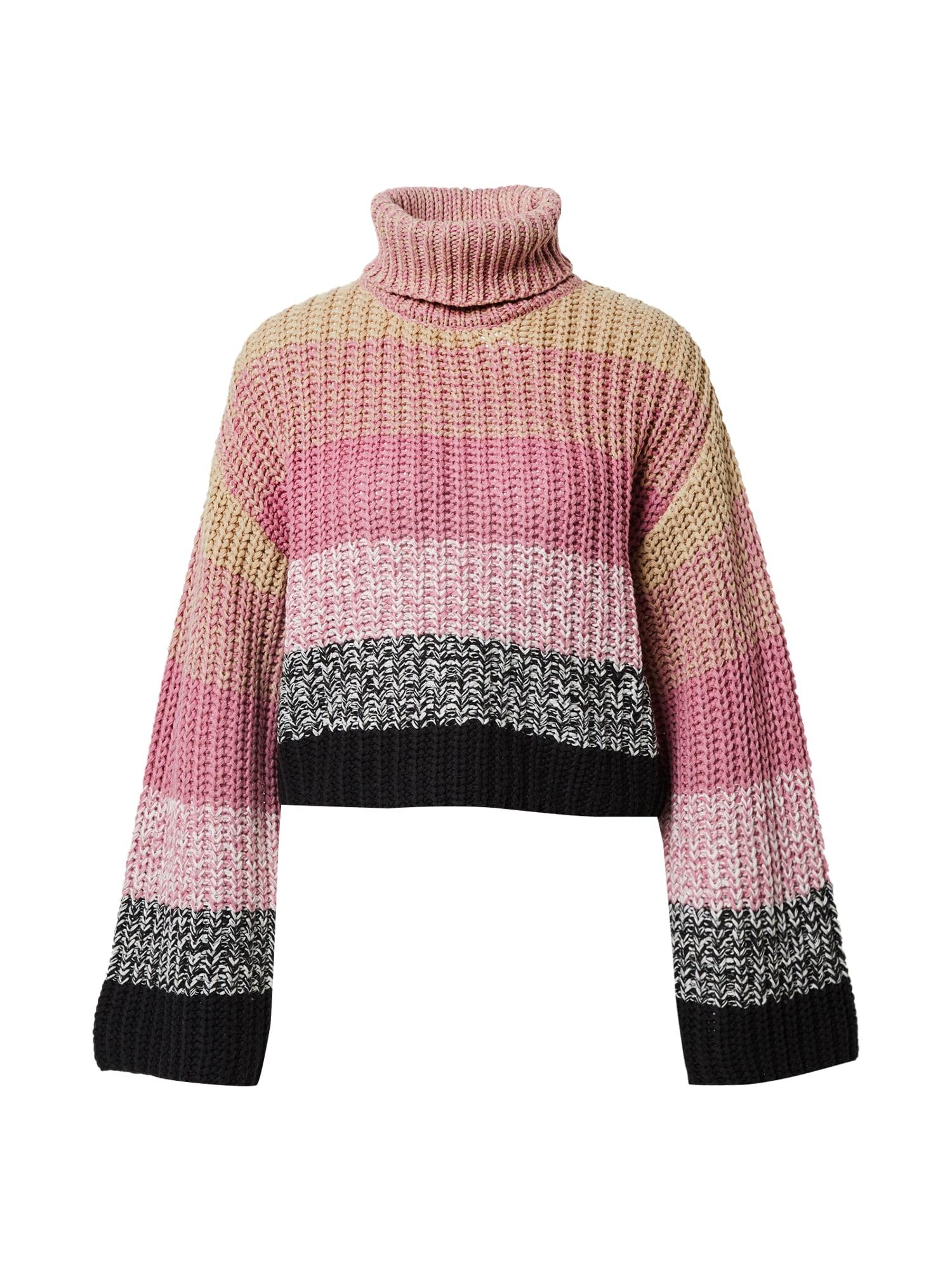 NA-KD Megztinis pilka / rožių spalva / pastelinė rožinė