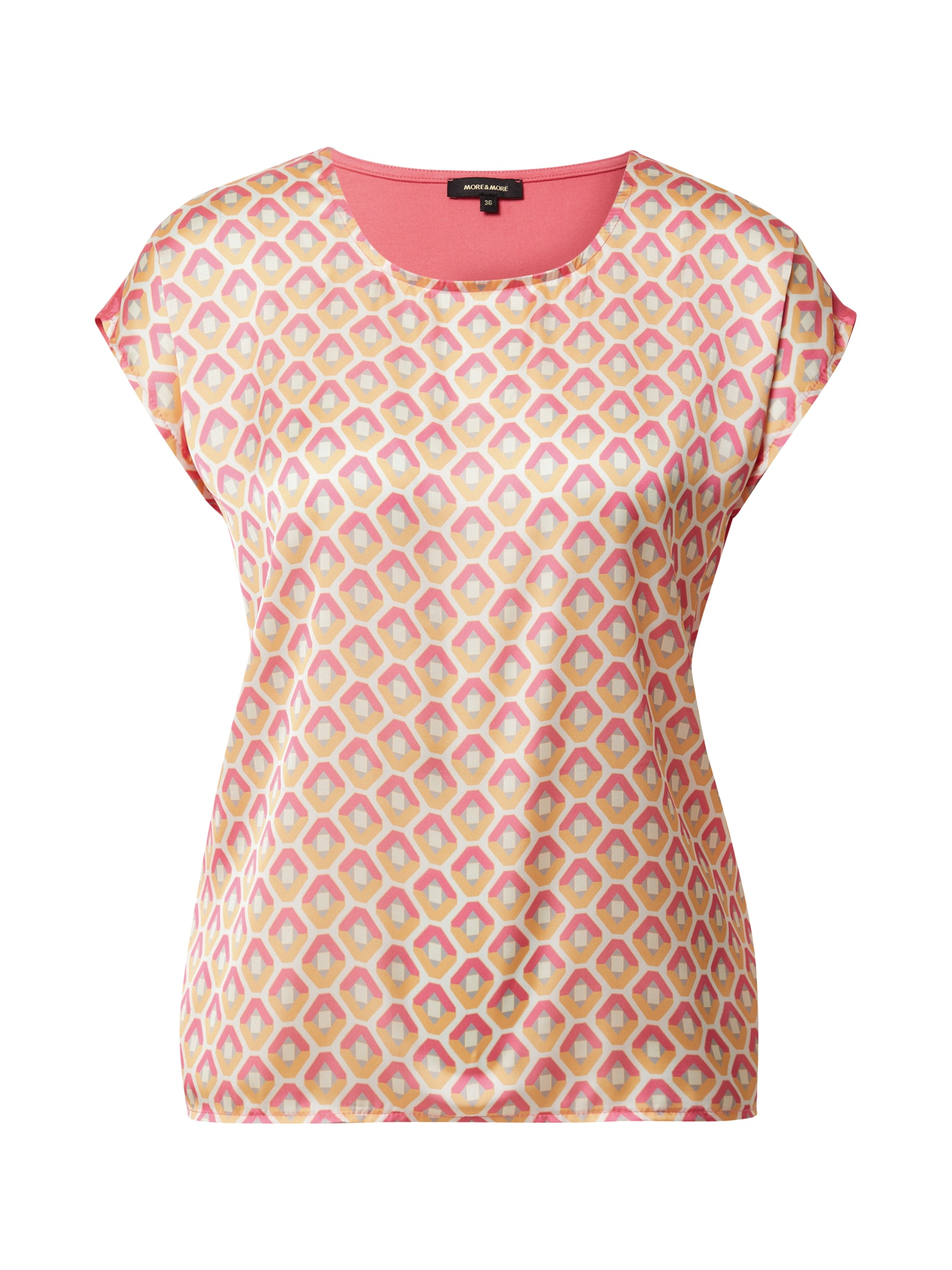 MORE & MORE Marškinėliai šviesiai rožinė / gelsvai pilka spalva / pilka / balta