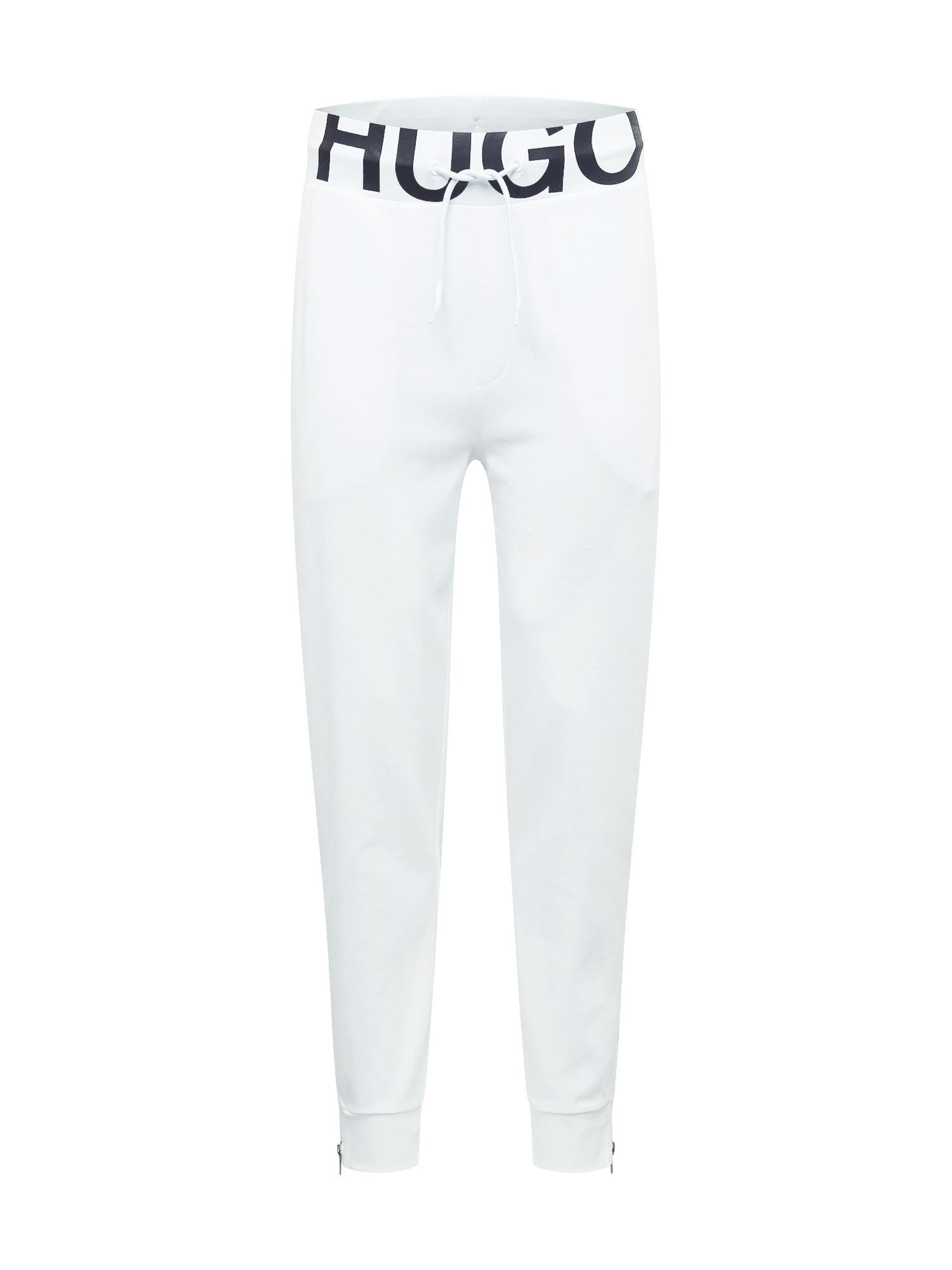 HUGO Sportovní kalhoty 'DUROS211'  bílá / černá