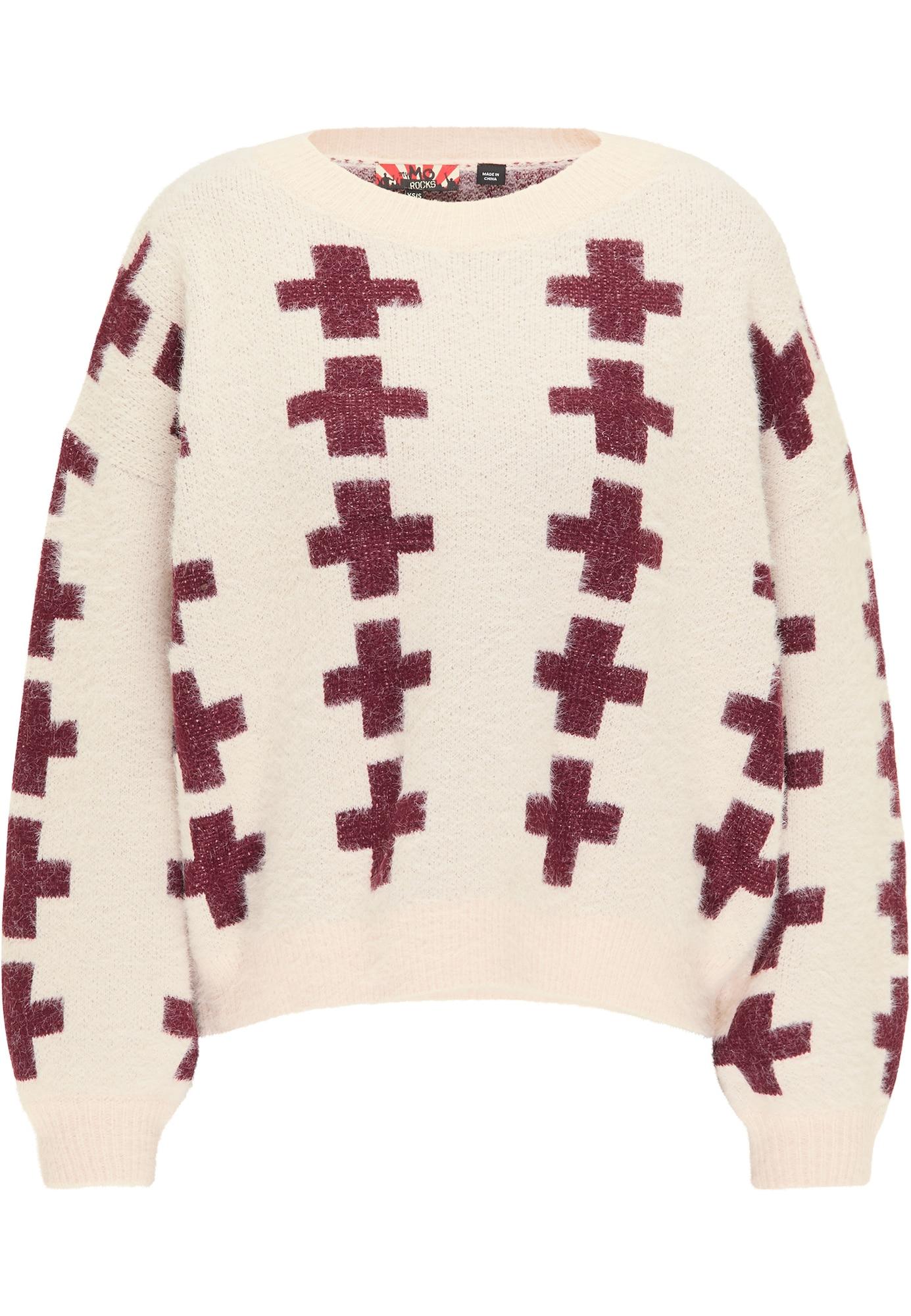 myMo ROCKS Laisvas megztinis vyno raudona spalva / kūno spalva