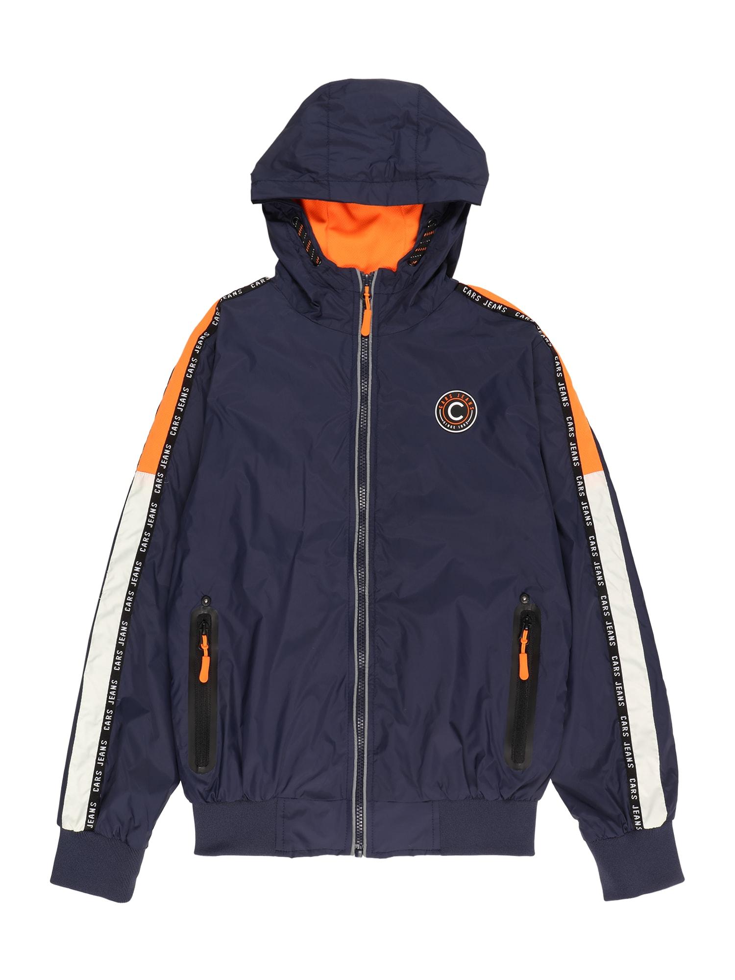 Cars Jeans Demisezoninė striukė 'GALWAY' tamsiai mėlyna / balta / oranžinė