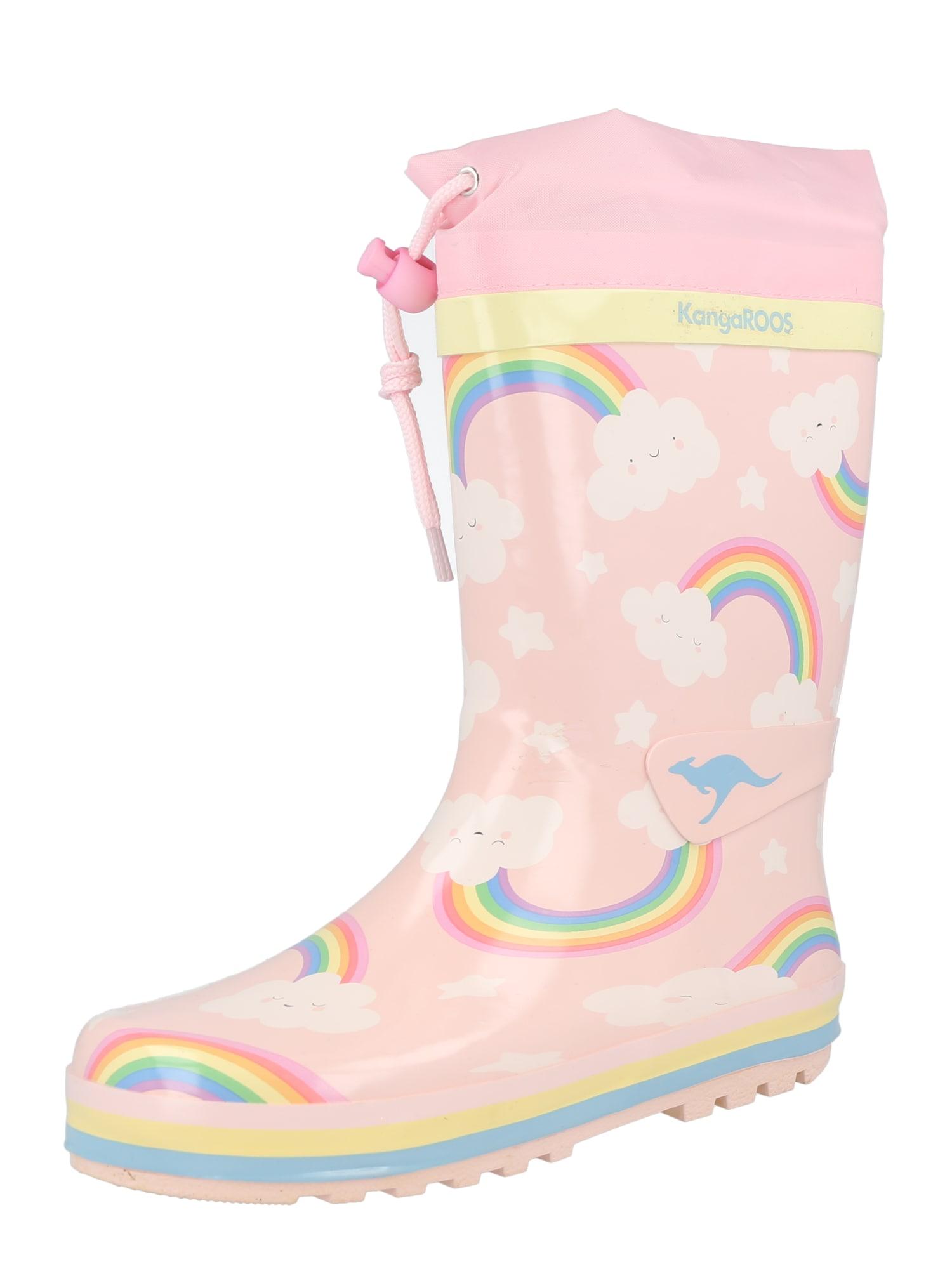 KangaROOS Guminiai batai 'Summerrain' rožių spalva / mėlyna / žalia / tamsiai violetinė / geltona
