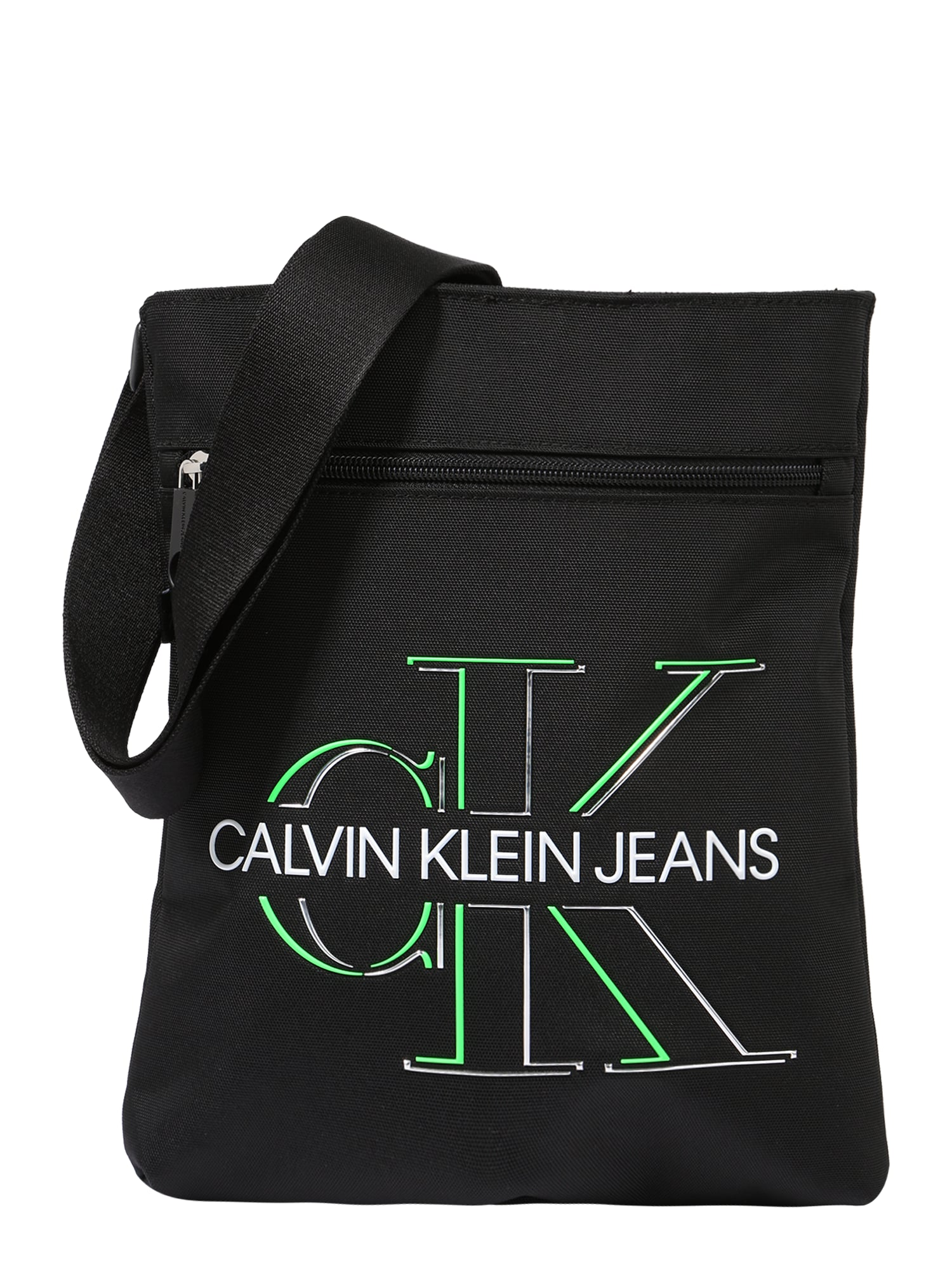 Calvin Klein Jeans Rankinė su ilgu dirželiu juoda / balta / žalia