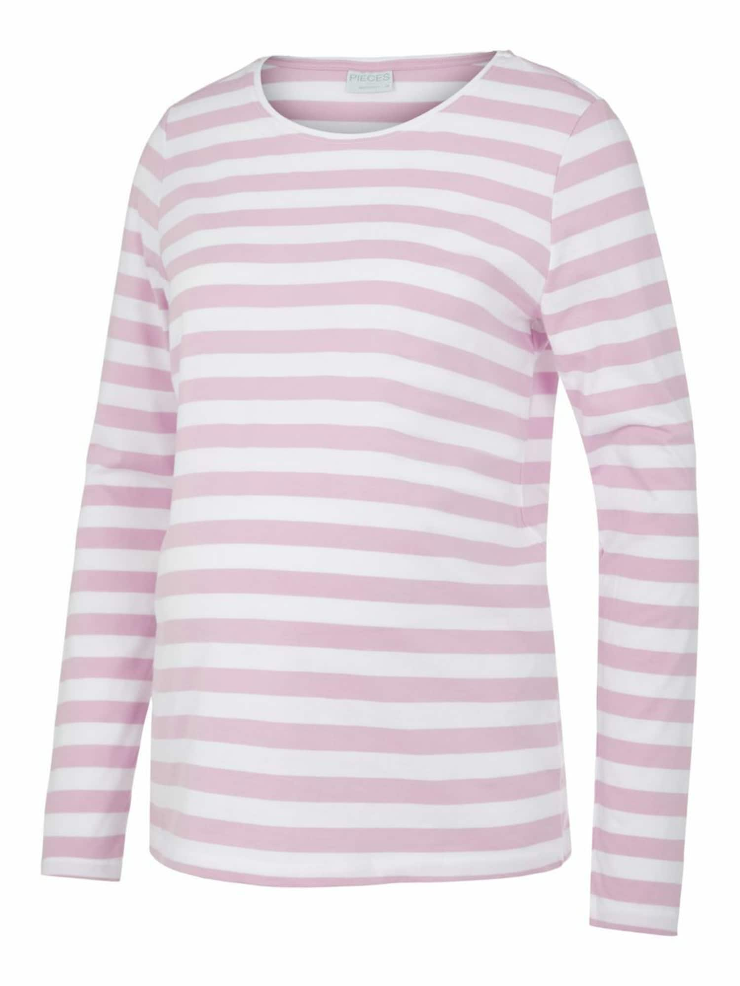 Pieces Maternity Marškinėliai balta / rožių spalva