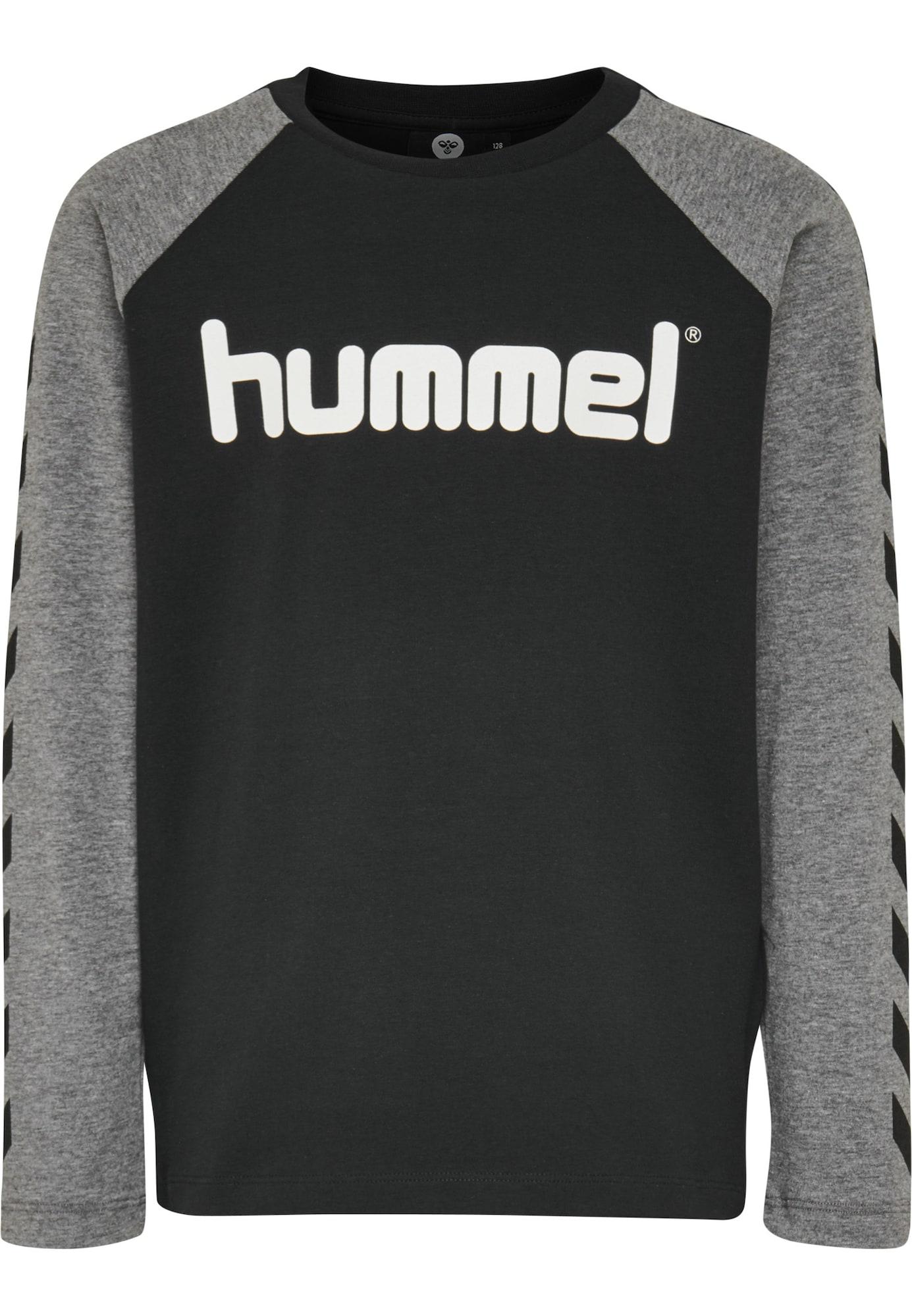 Hummel Marškinėliai pilka / juoda / balta