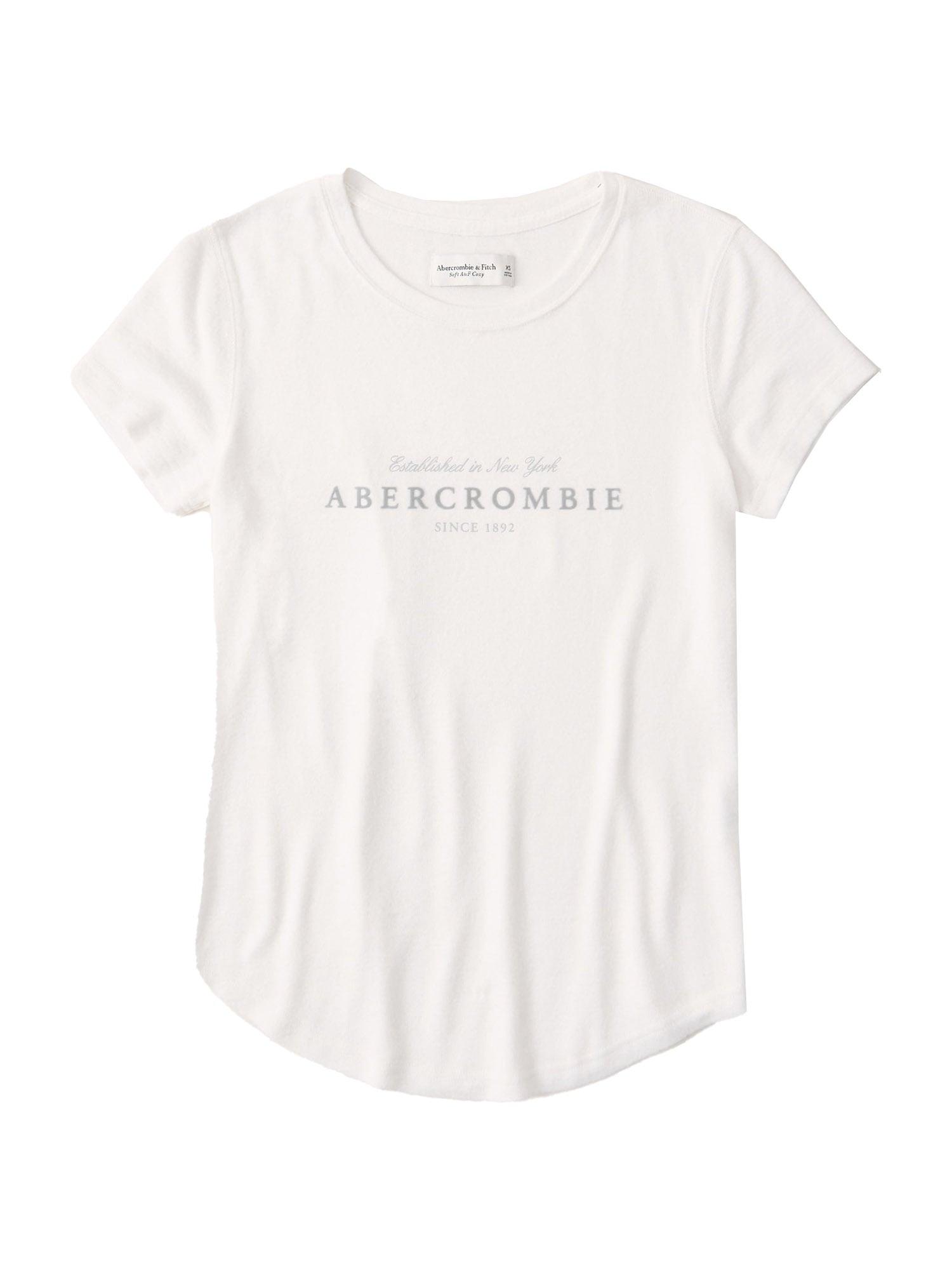 Abercrombie & Fitch Marškinėliai balta / šviesiai pilka