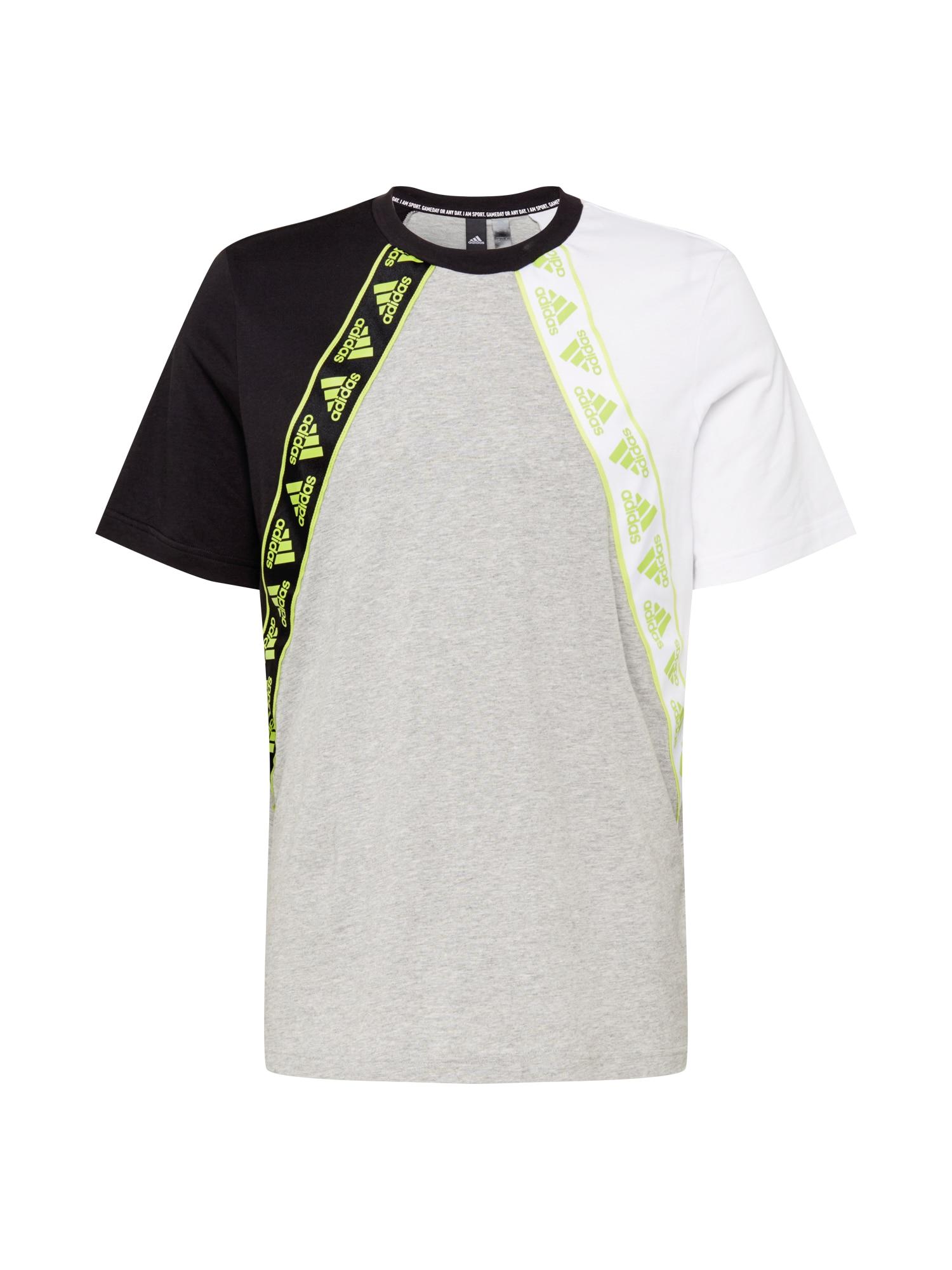 ADIDAS PERFORMANCE Funkční tričko  černá / světle šedá / bílá