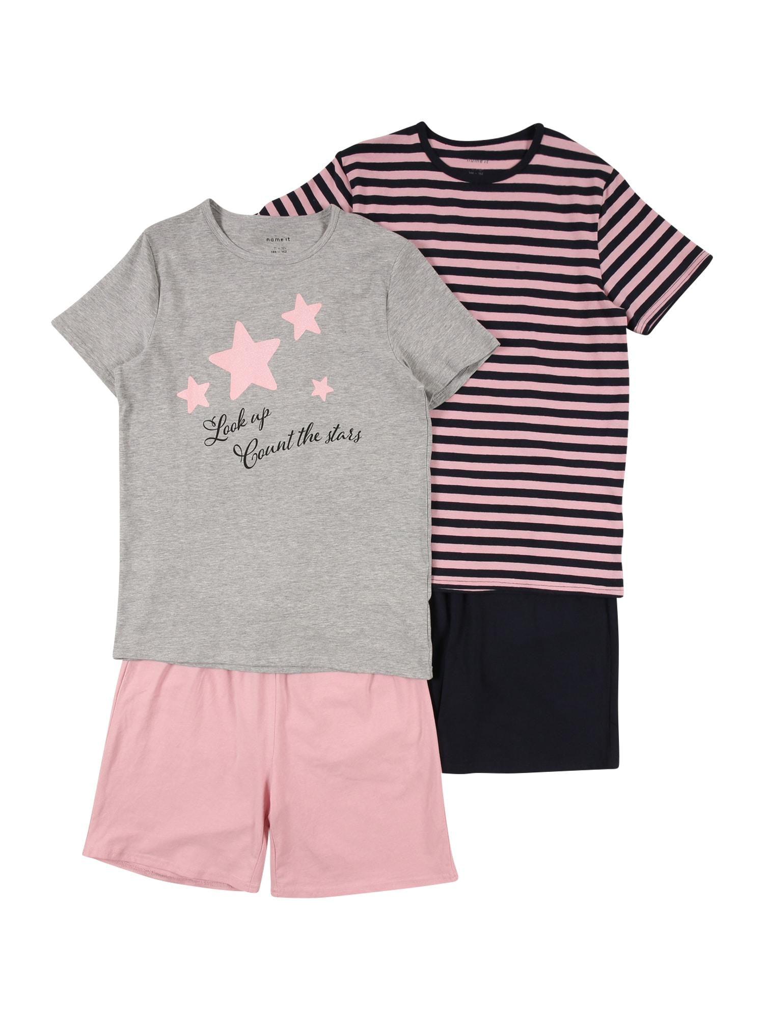 NAME IT Miego kostiumas pilka / rožinė / nakties mėlyna