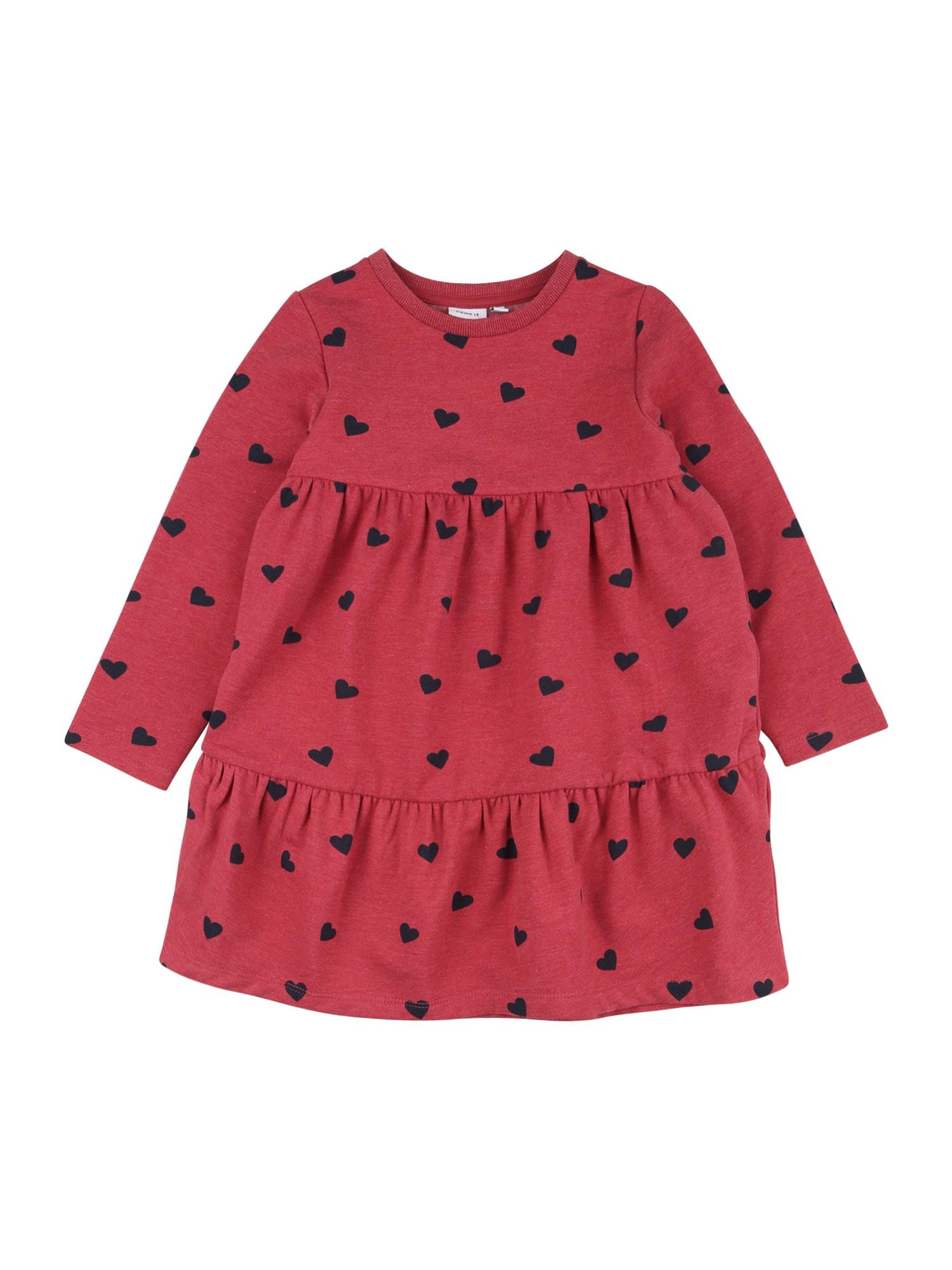 NAME IT Šaty 'Sandra'  pastelově červená / tmavě modrá