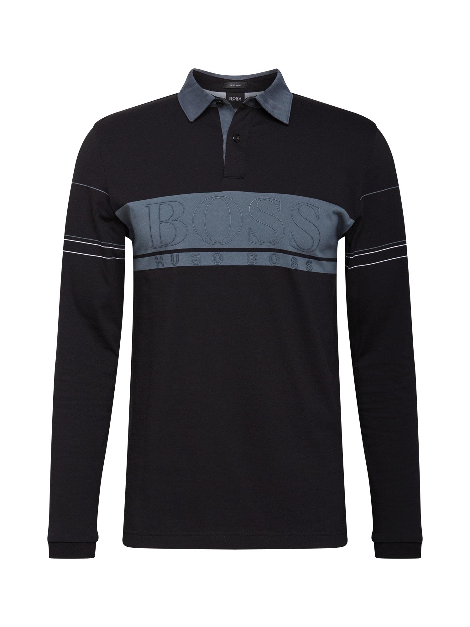 BOSS ATHLEISURE Marškinėliai juoda / mėlyna dūmų spalva