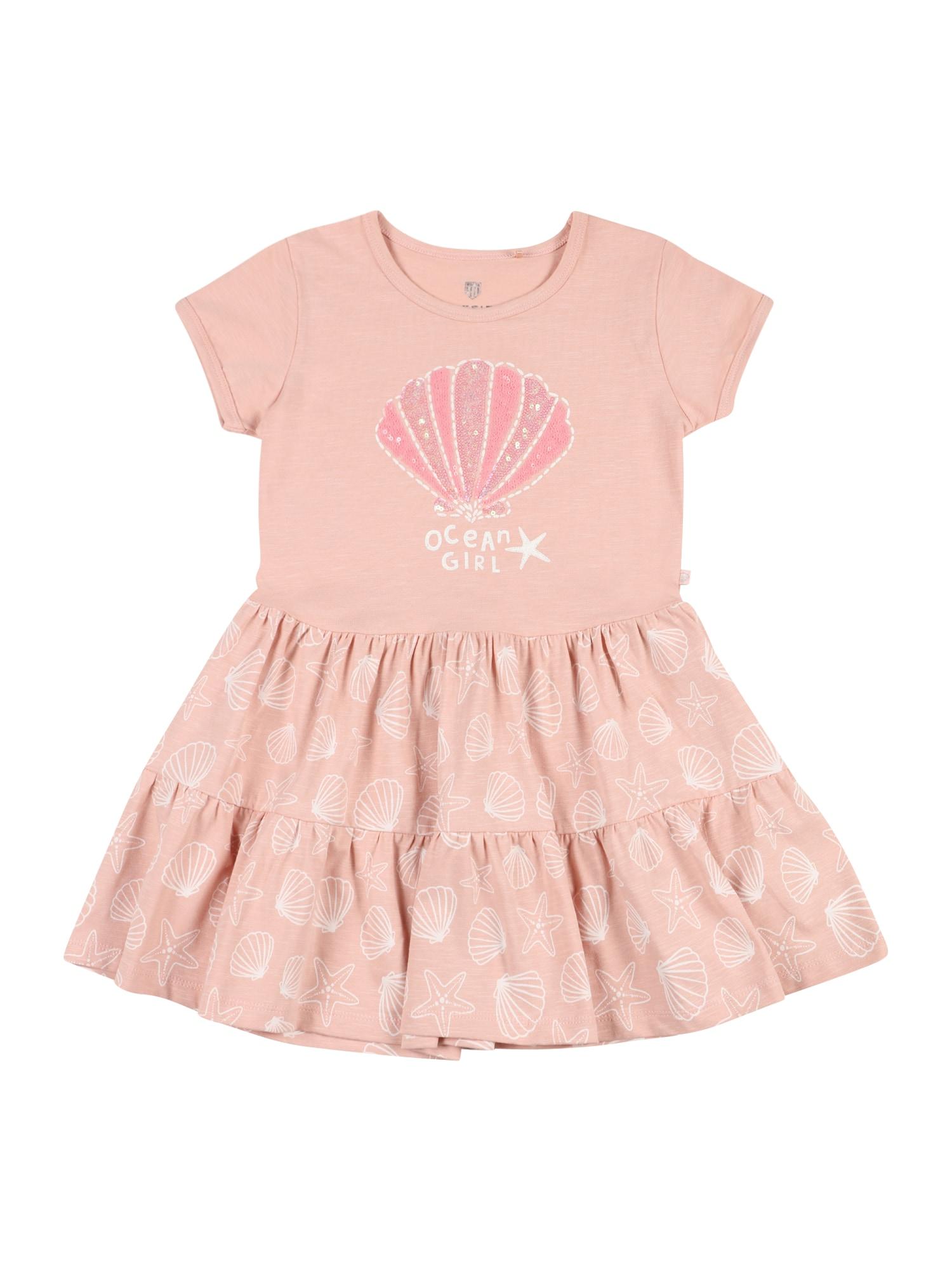 BASEFIELD Suknelė persikų spalva / balta / rožių spalva