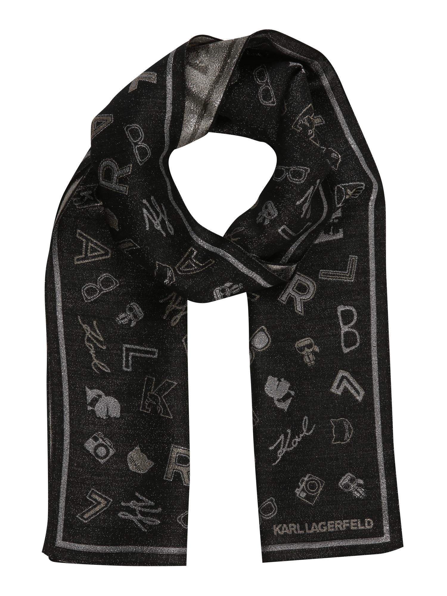 Karl Lagerfeld Šalikas juoda / pilka