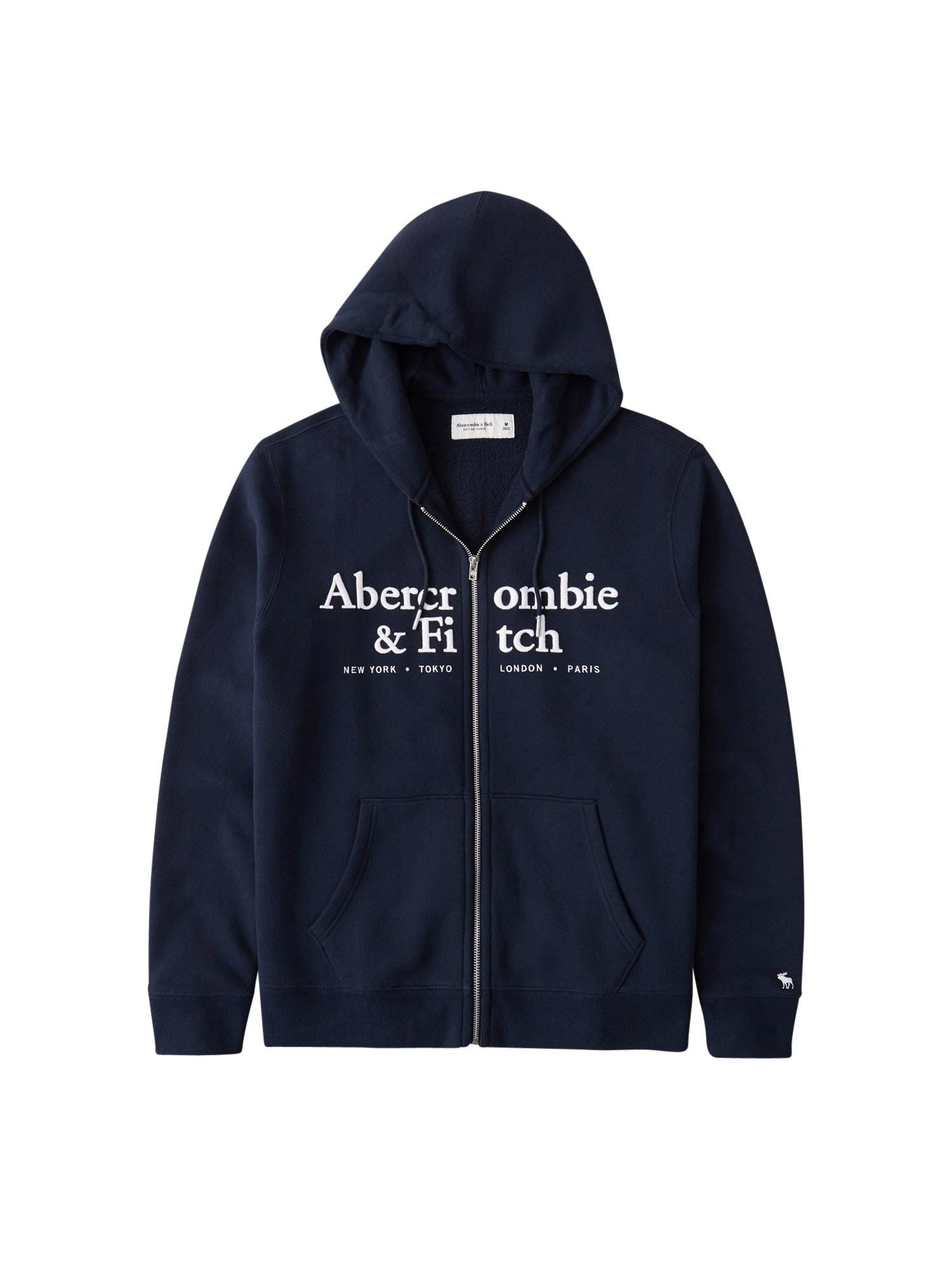Abercrombie & Fitch Mikina s kapucí 'HOLIDAY'  námořnická modř / bílá
