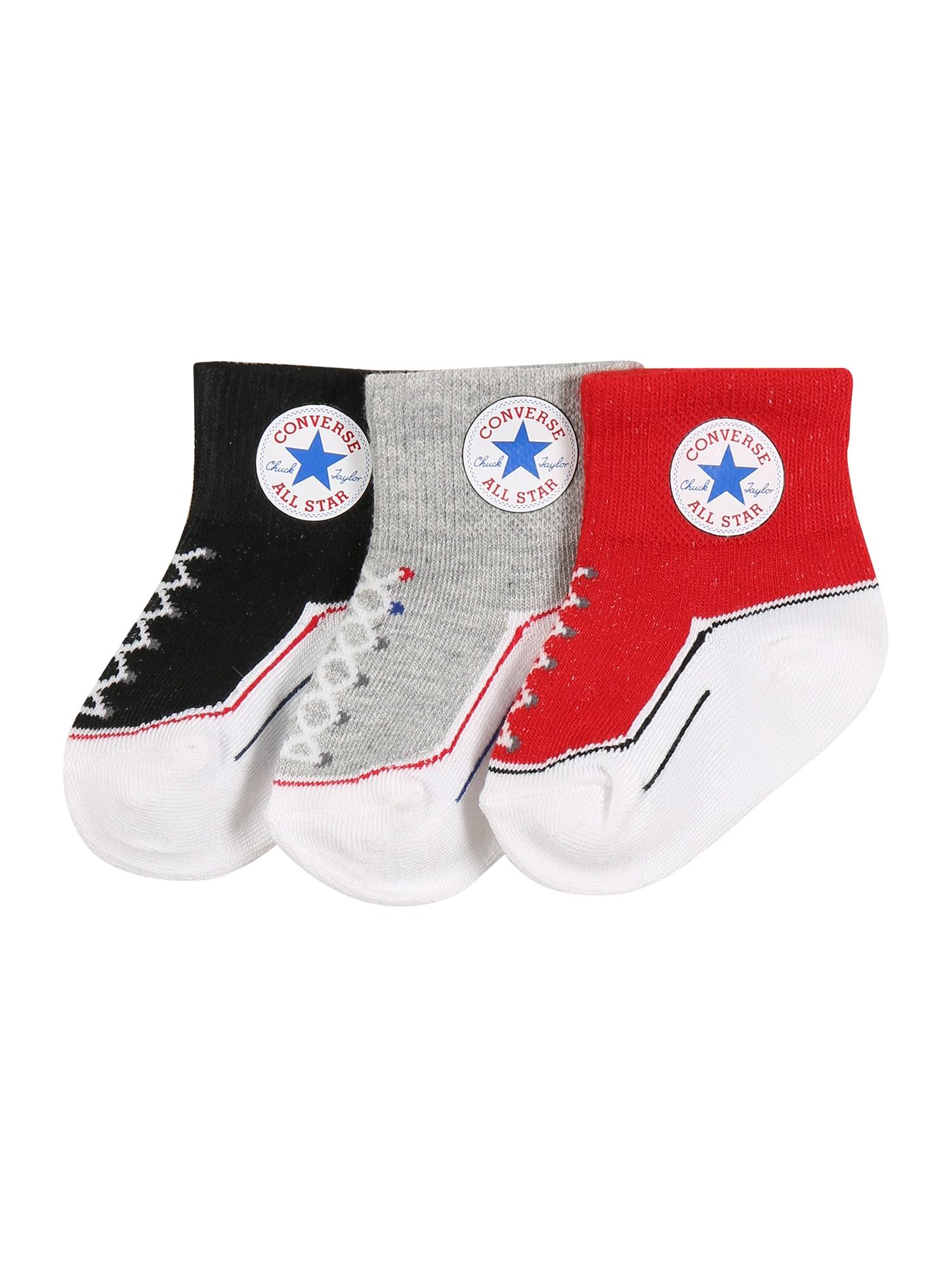 CONVERSE Kojinės 'INFANT' juoda / balta / raudona / margai pilka