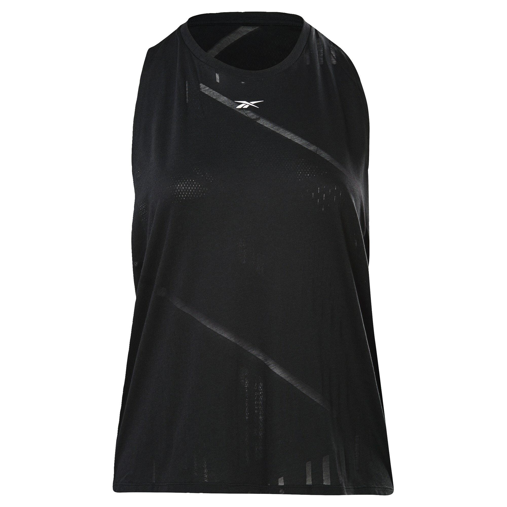 REEBOK Sportovní top  černá / bílá