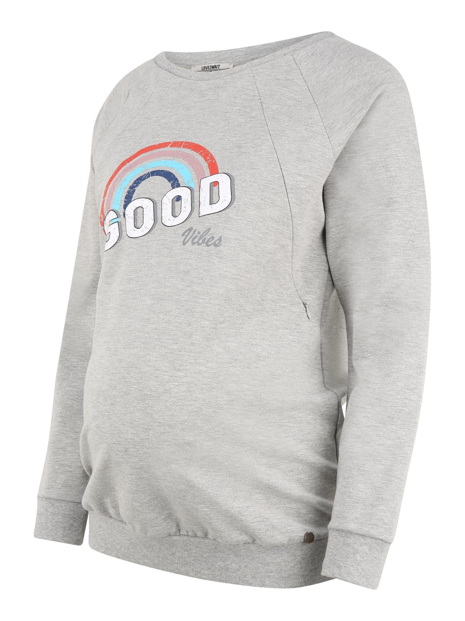 LOVE2WAIT Megztinis be užsegimo 'Good Vibes' margai pilka / balta / raudona / tamsiai mėlyna