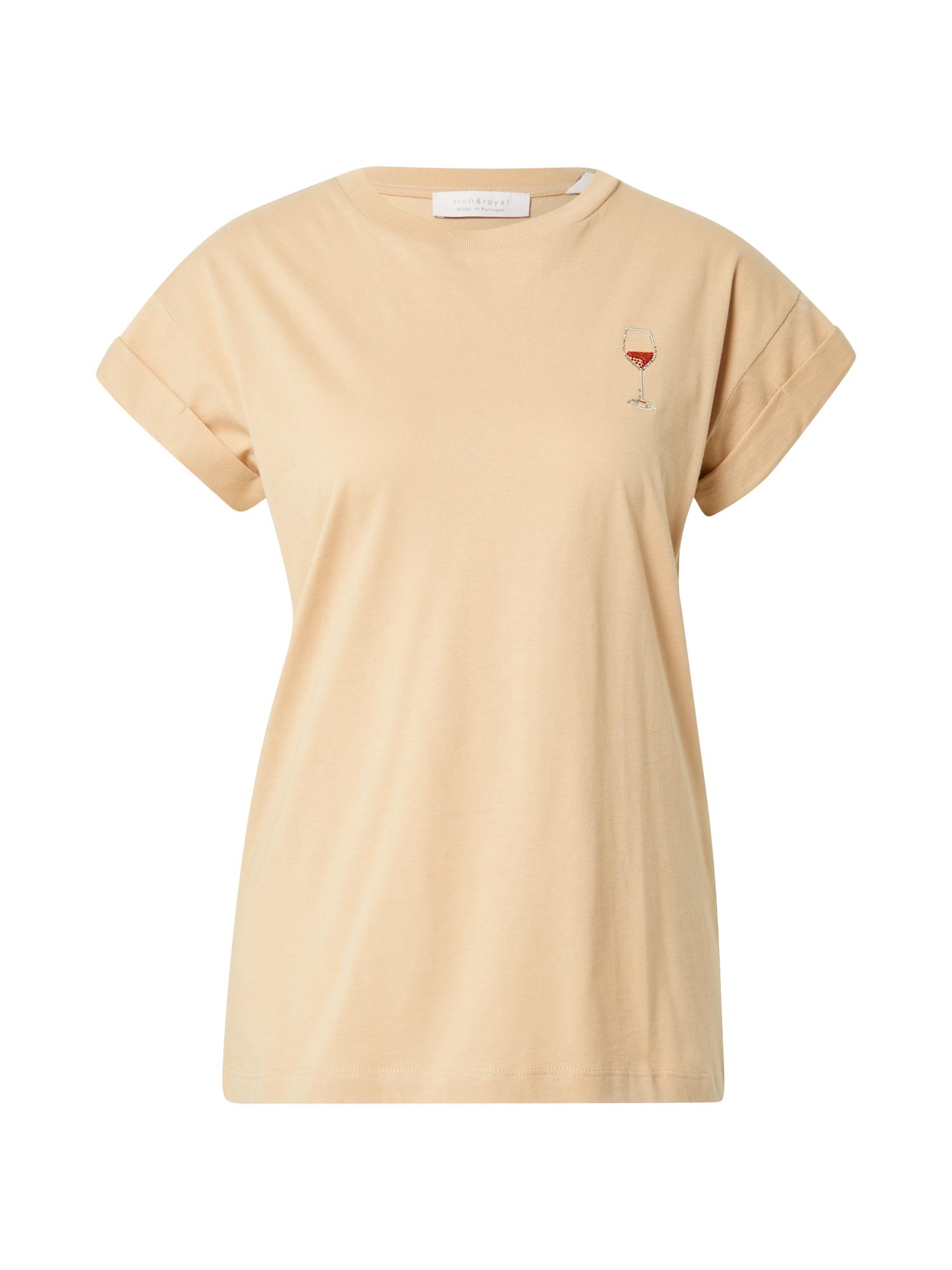 Rich & Royal Marškinėliai gelsvai pilka spalva / raudona