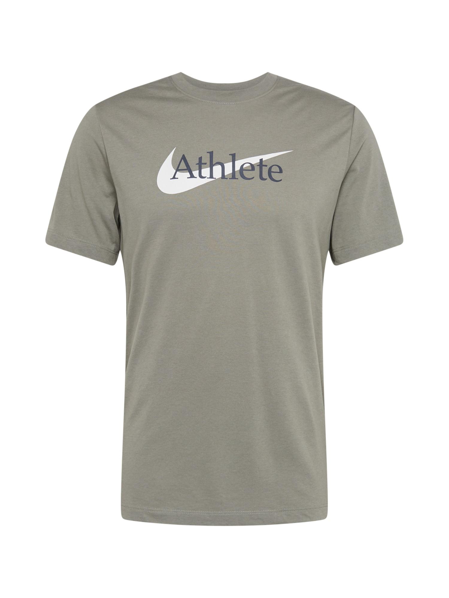 NIKE Sportiniai marškinėliai alyvuogių spalva / balta / tamsiai mėlyna