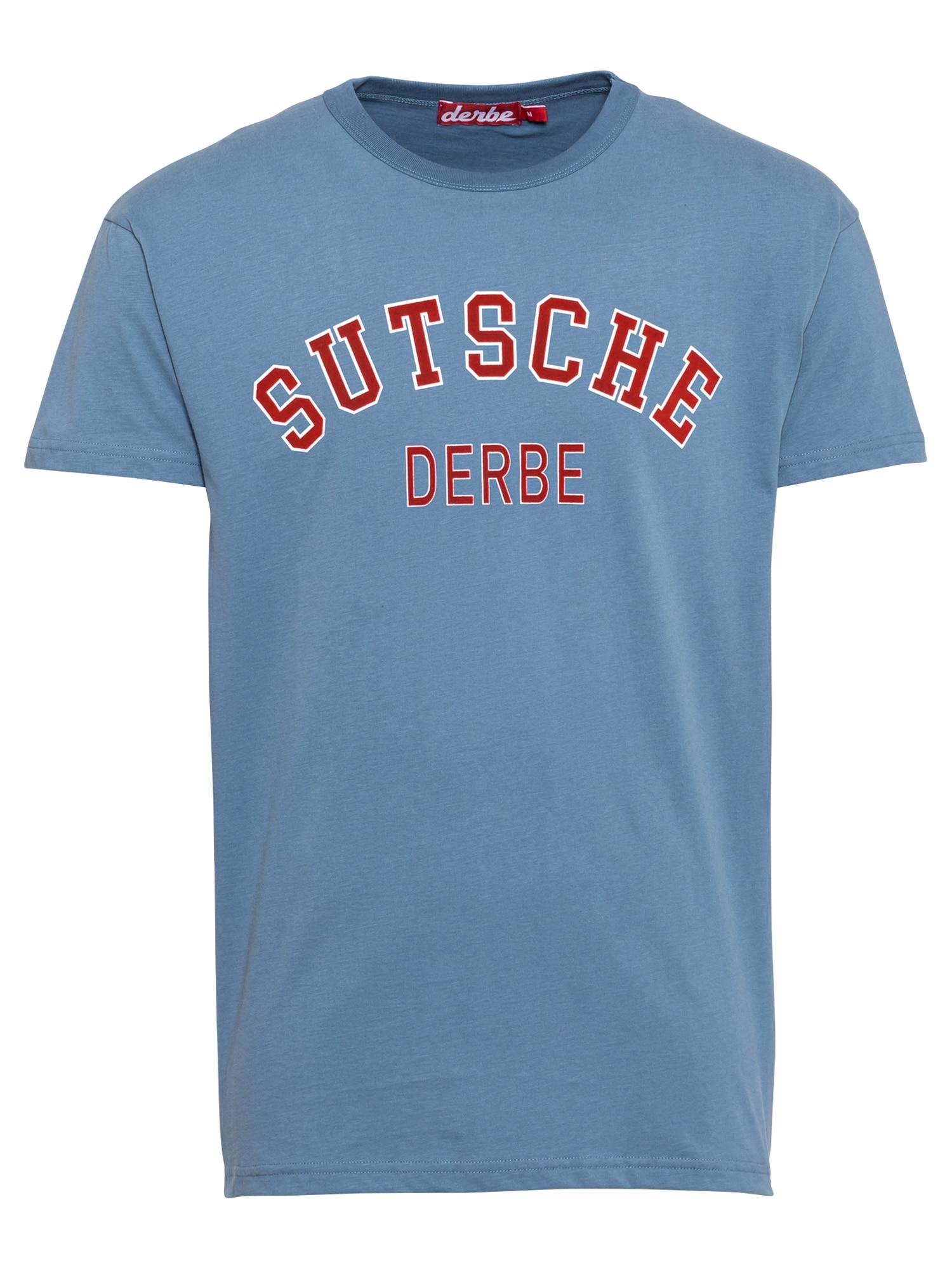 Derbe Marškinėliai mėlyna dūmų spalva / raudona / balta