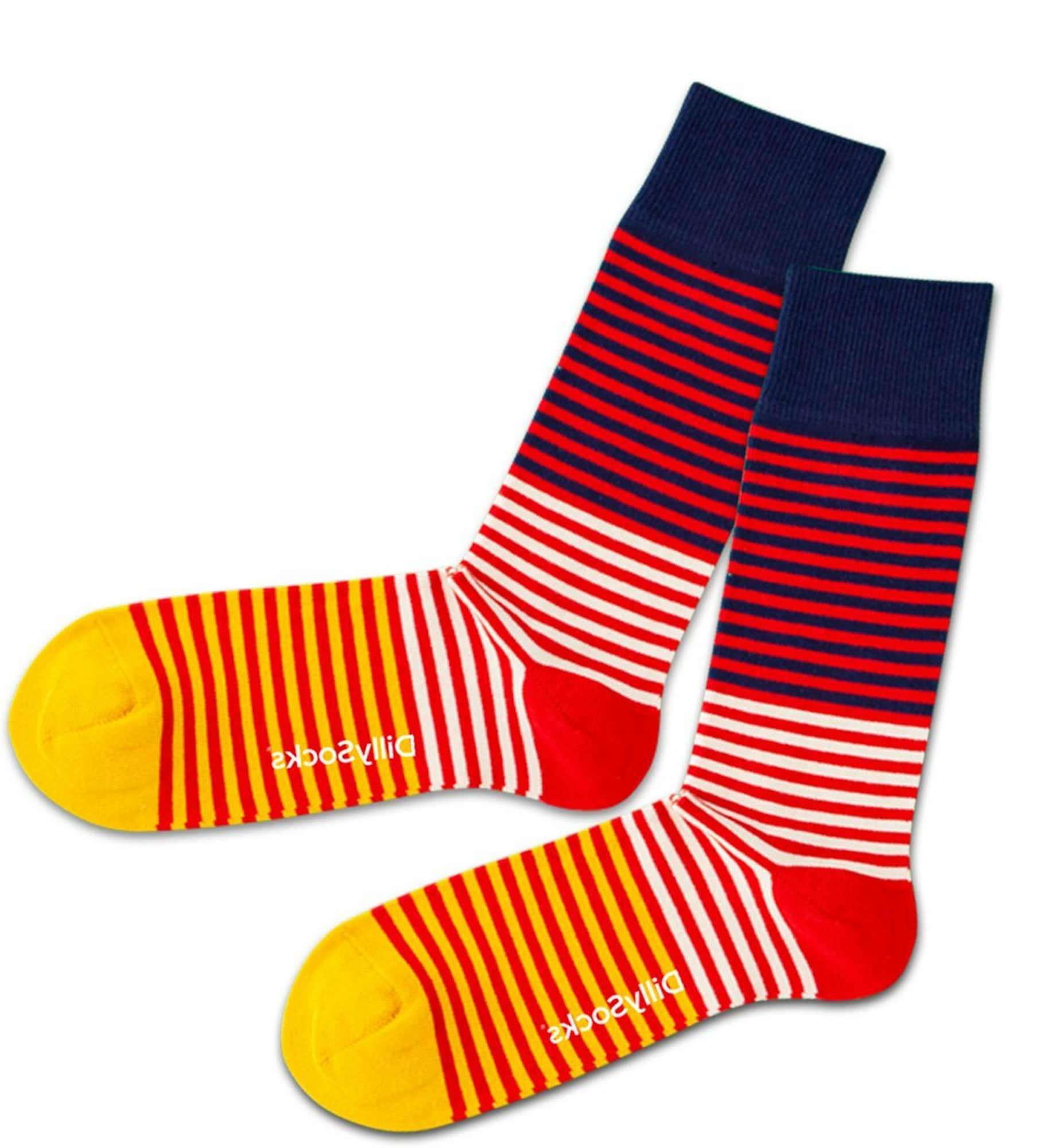 DillySocks Kojinės geltona / raudona / balta / tamsiai mėlyna