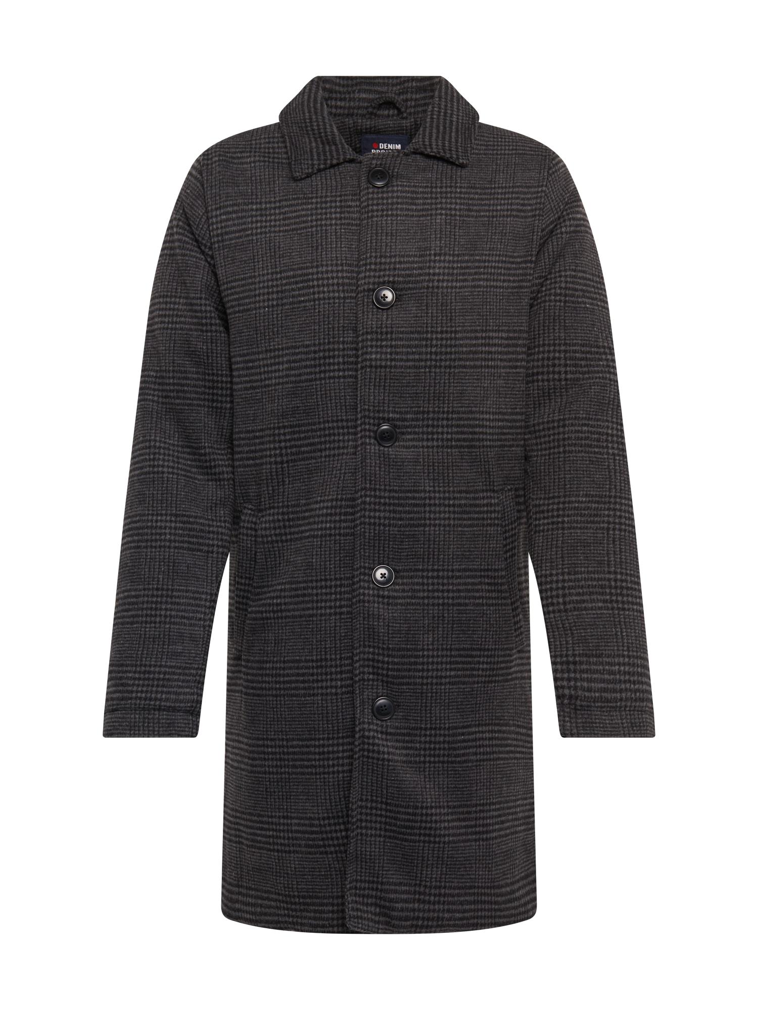 Denim Project Přechodný kabát  černá / tmavě šedá