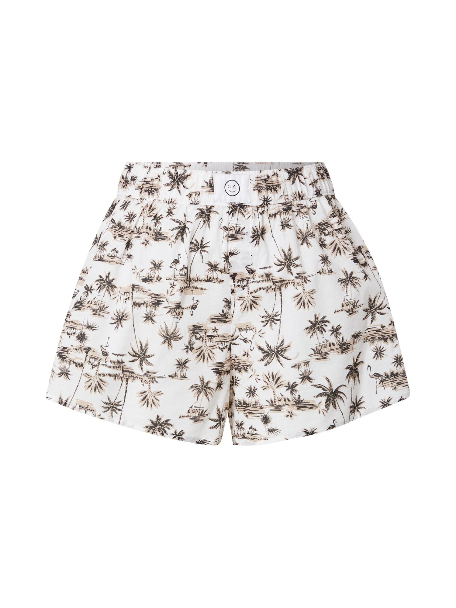 HOLLISTER Pyžamové nohavice  biela / čierna / farba ťavej srsti