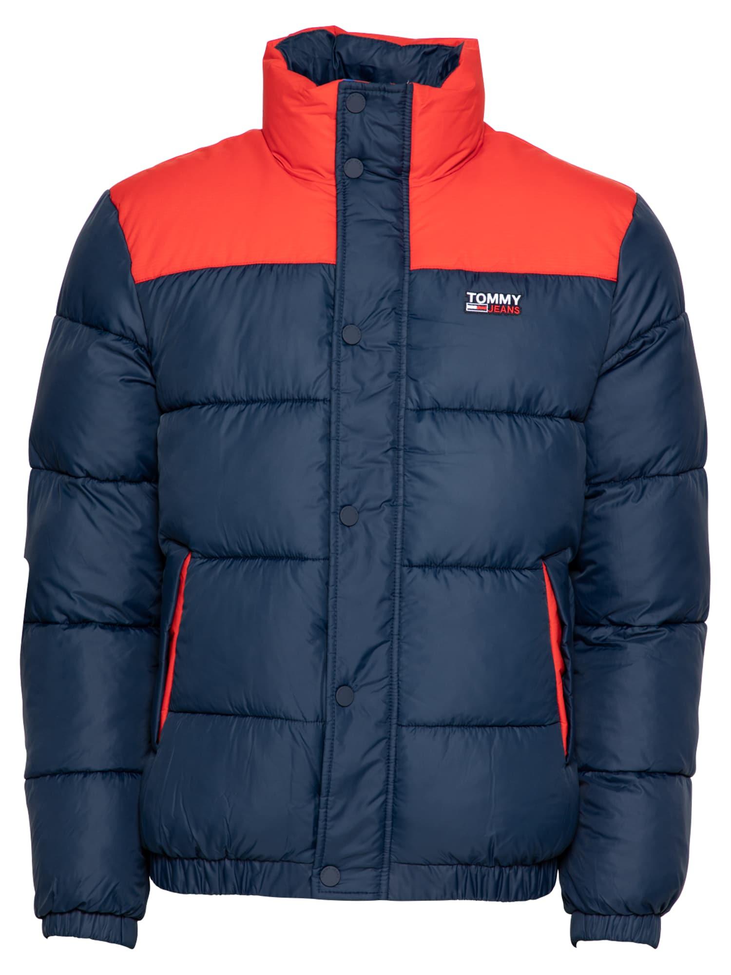 Tommy Jeans Žieminė striukė tamsiai mėlyna / oranžinė-raudona