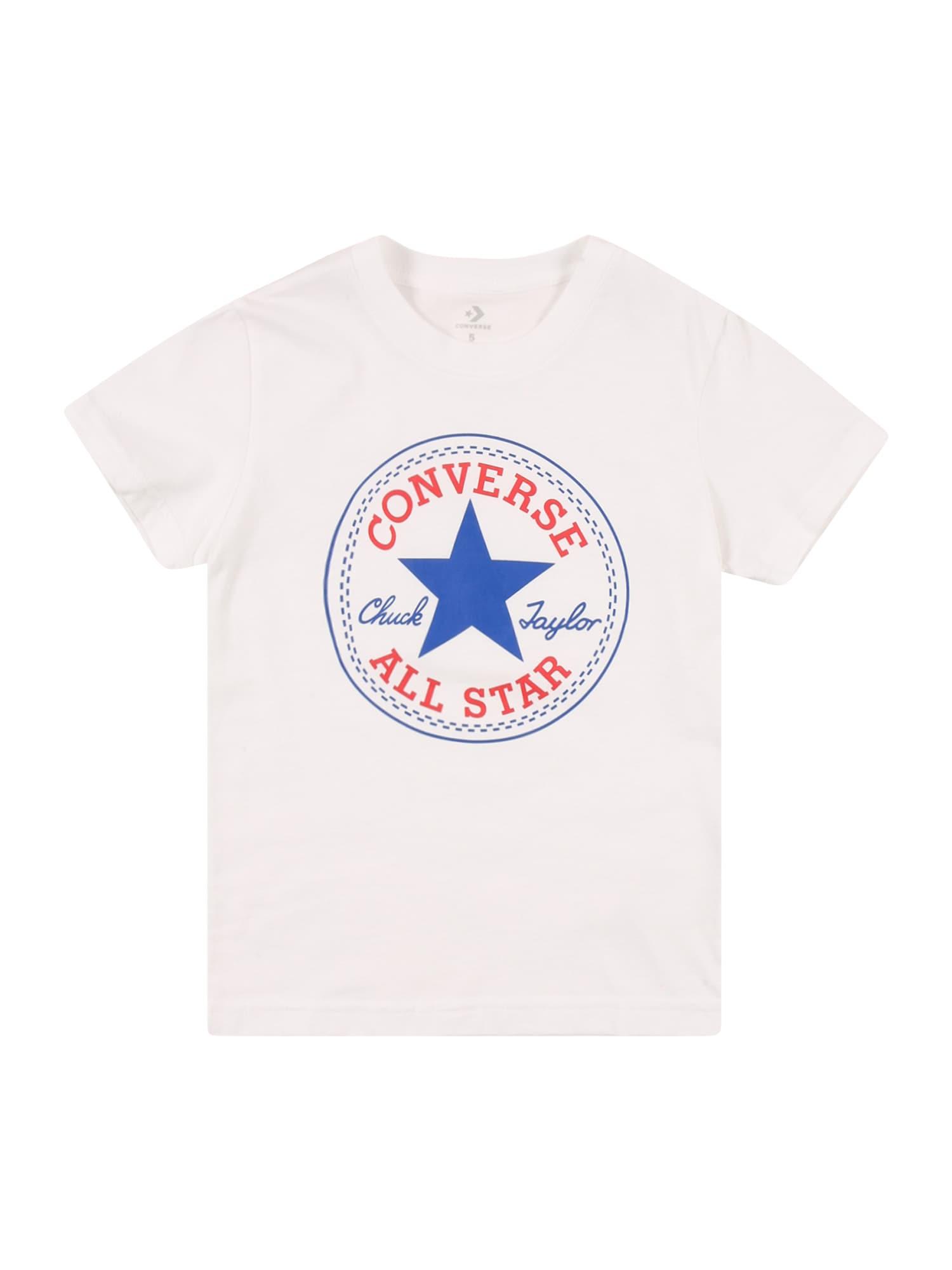 CONVERSE Marškinėliai balta / mėlyna / raudona