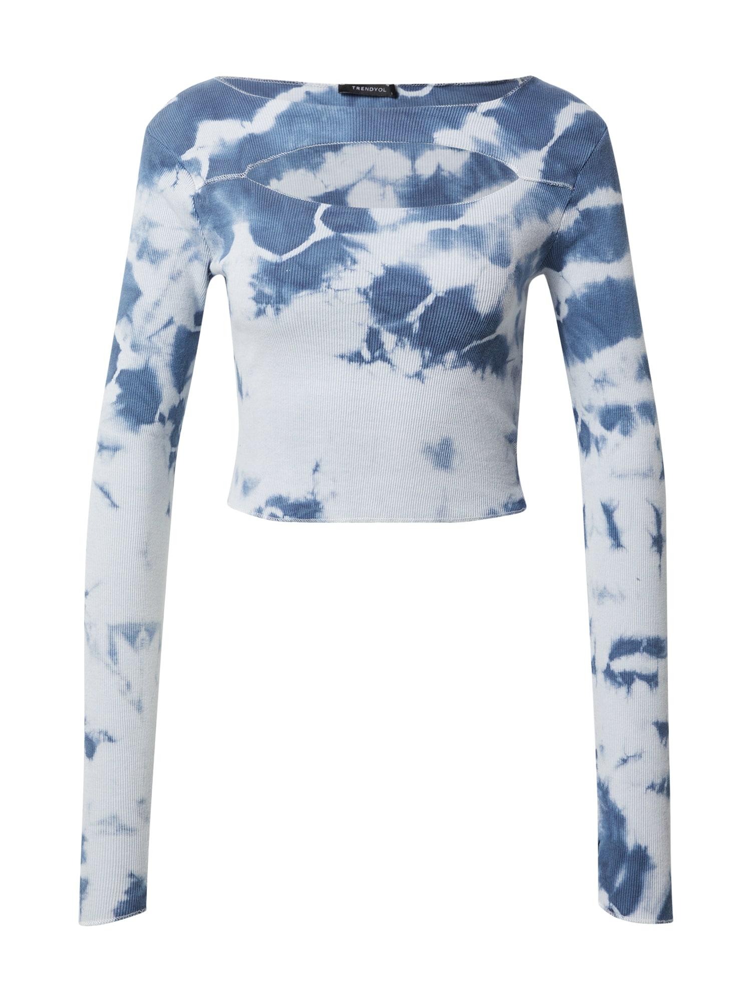 Trendyol Marškinėliai azuro spalva / tamsiai (džinso) mėlyna