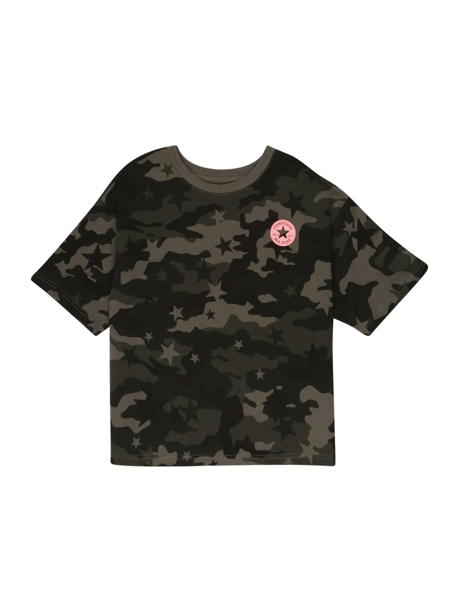 CONVERSE Tričko  zelená / černá / pink