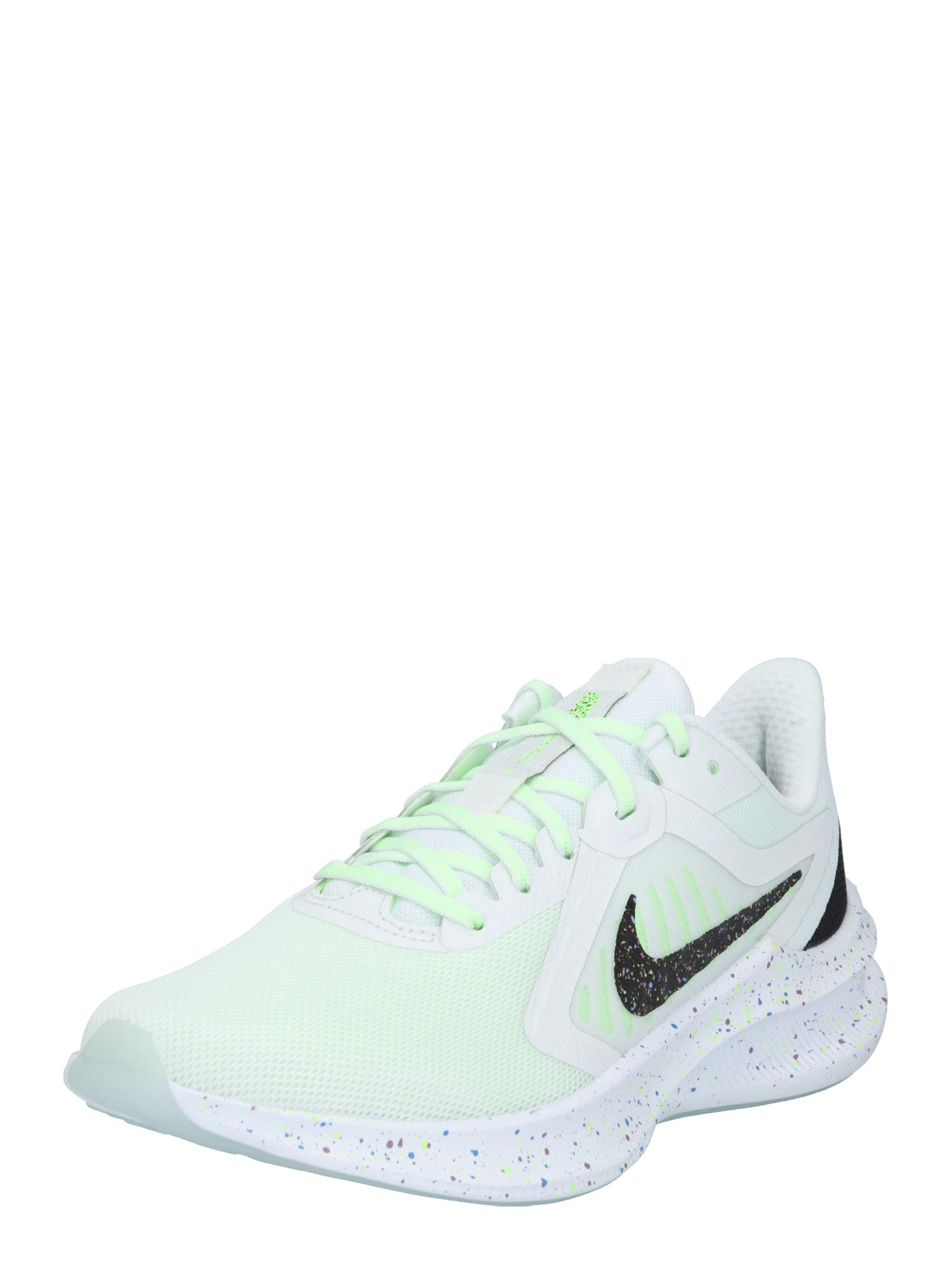 NIKE Běžecká obuv 'Downshifter 10 SE'  černá / bílá / limetková