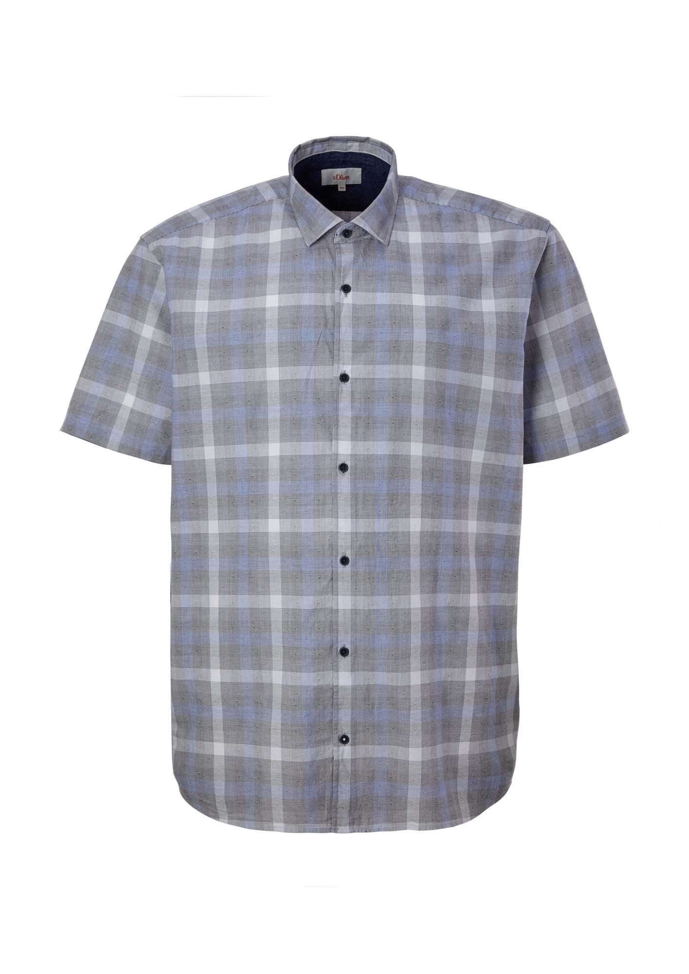 s.Oliver Red Label Big & Tall Marškiniai šviesiai pilka / šviesiai mėlyna