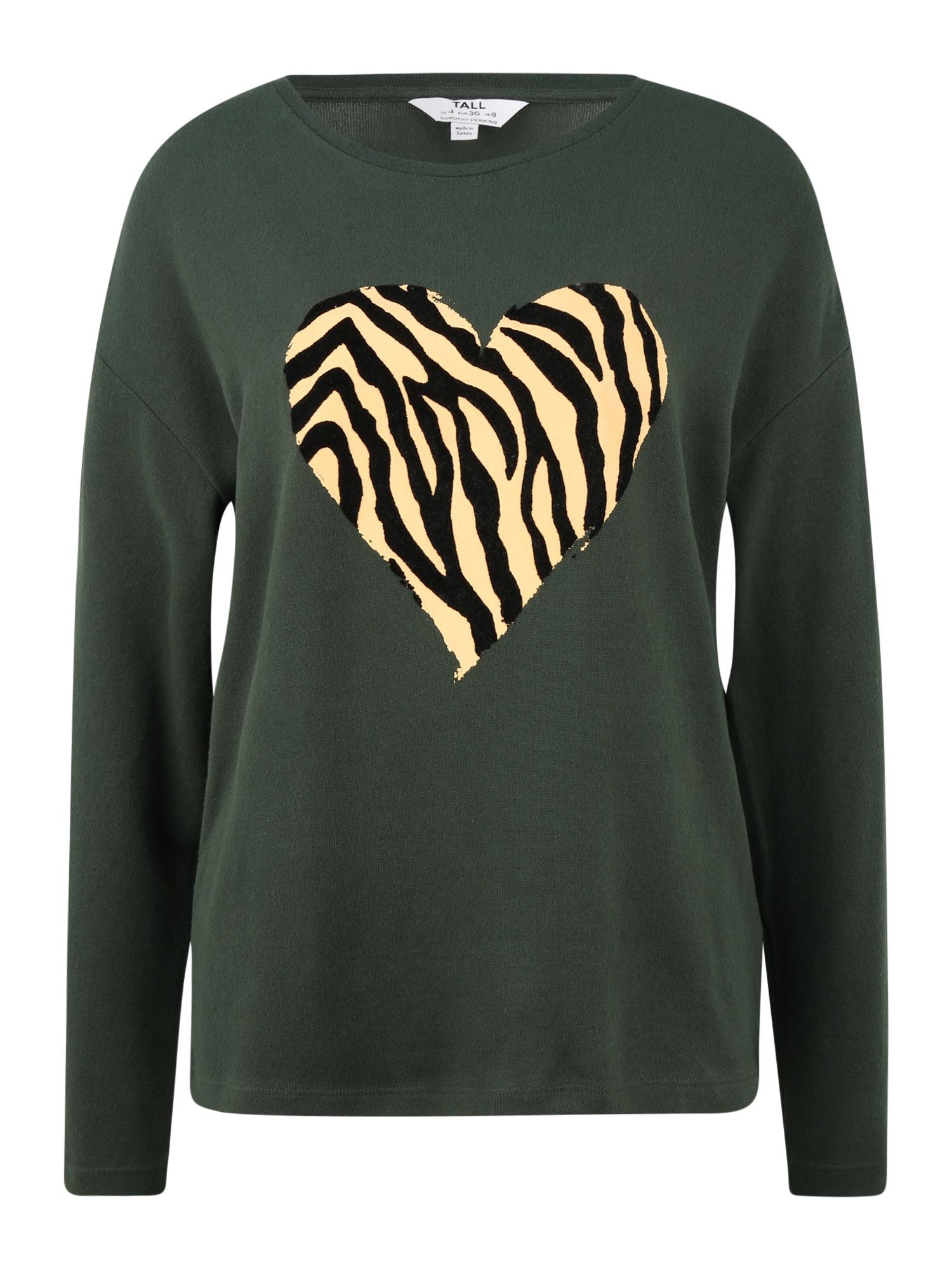 Dorothy Perkins (Tall) Megztinis rusvai žalia / smėlio spalva / juoda