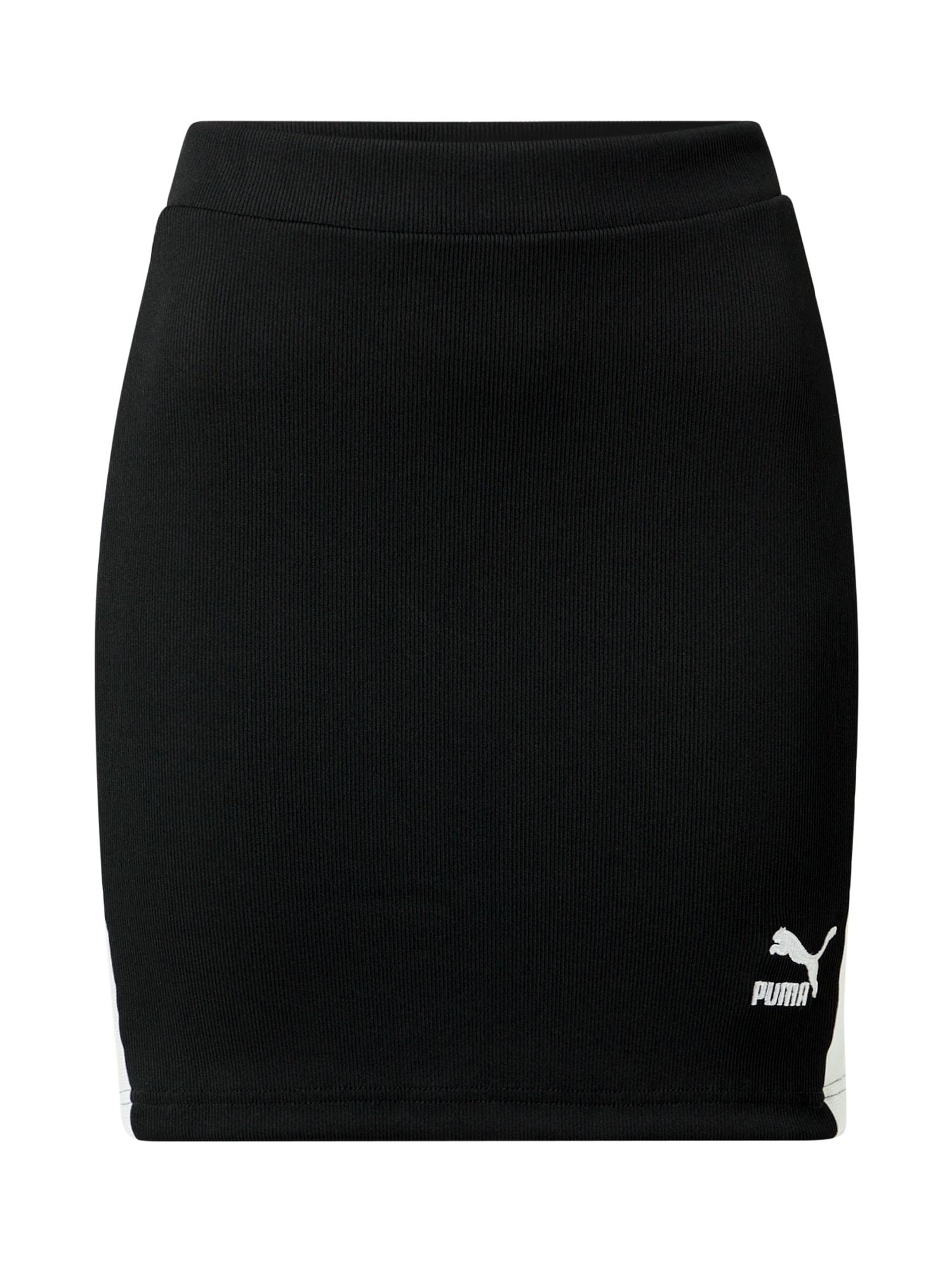 PUMA Sportinio stiliaus sijonas juoda / balta