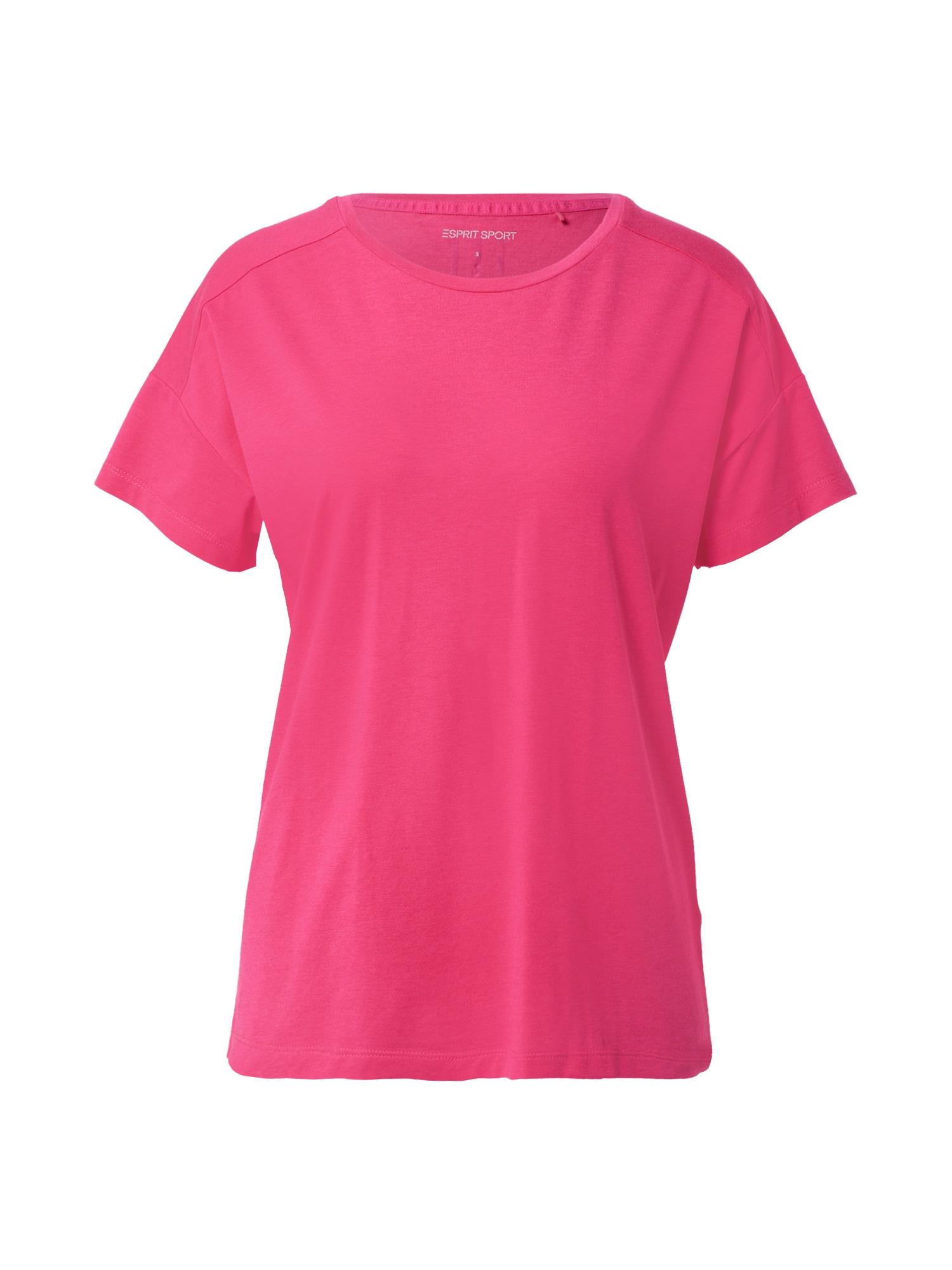 ESPRIT SPORT Sportiniai marškinėliai fuksijų spalva / balta / juoda / mėlyna dūmų spalva