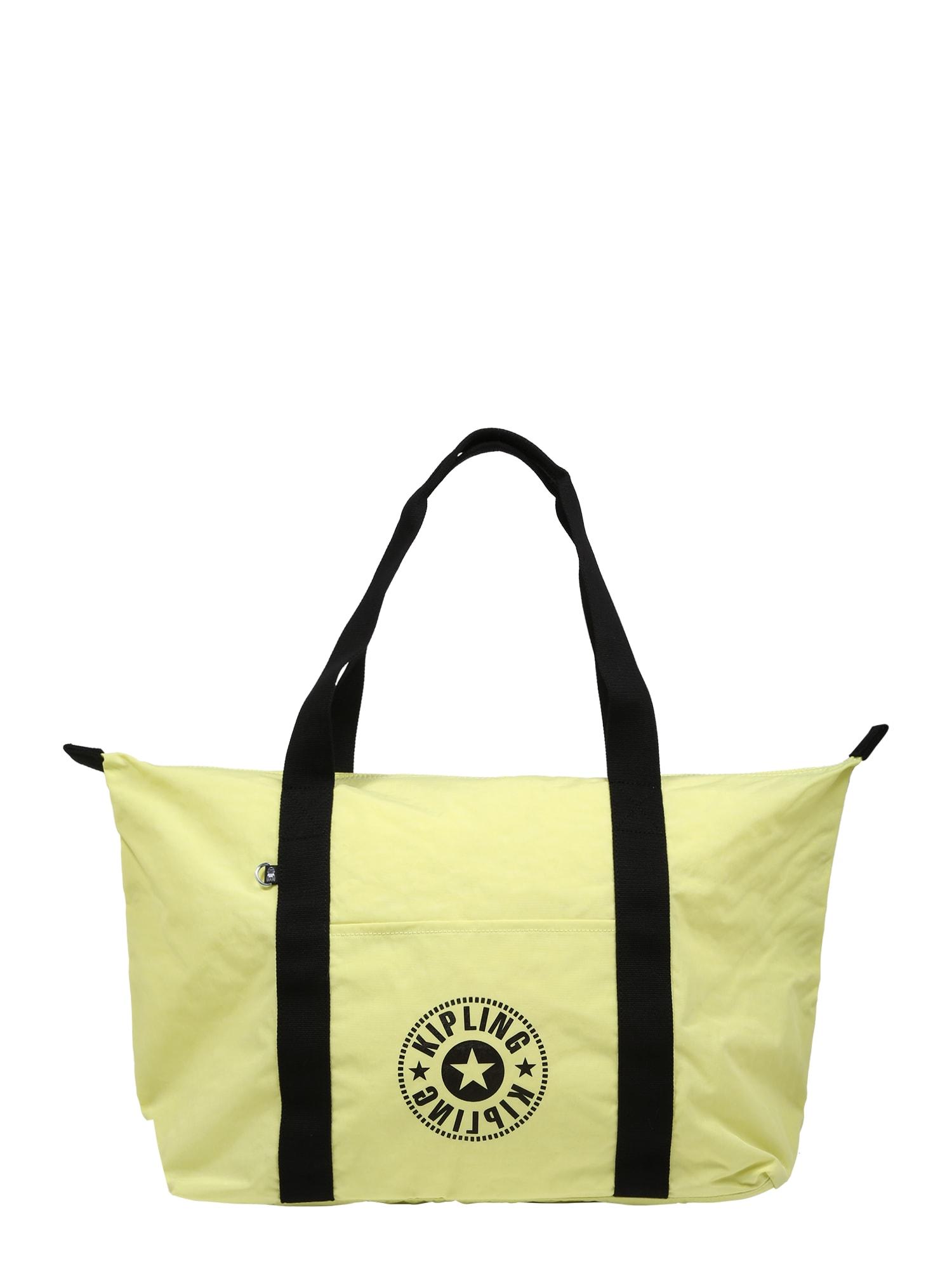 KIPLING Pirkinių krepšys žaliosios citrinos spalva / juoda