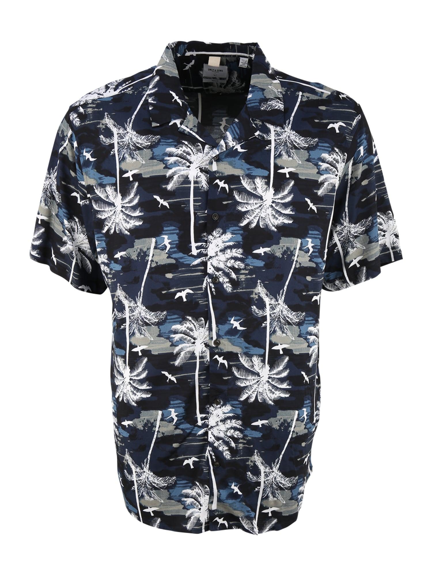Only & Sons Big & Tall Marškiniai tamsiai mėlyna / mėlyna dūmų spalva / balta / rusvai pilka / juoda