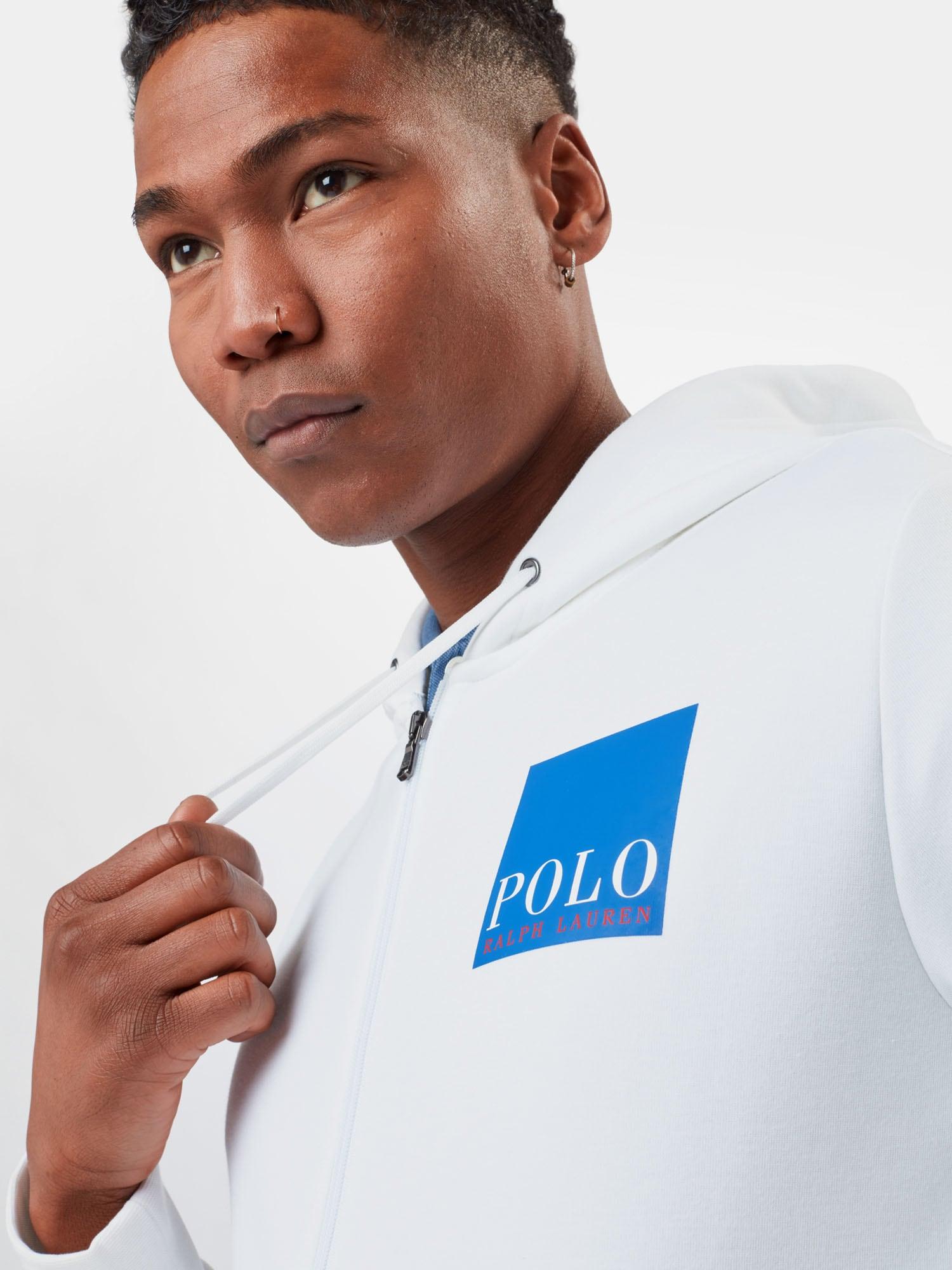 POLO RALPH LAUREN Tepláková bunda  biela / modrá.