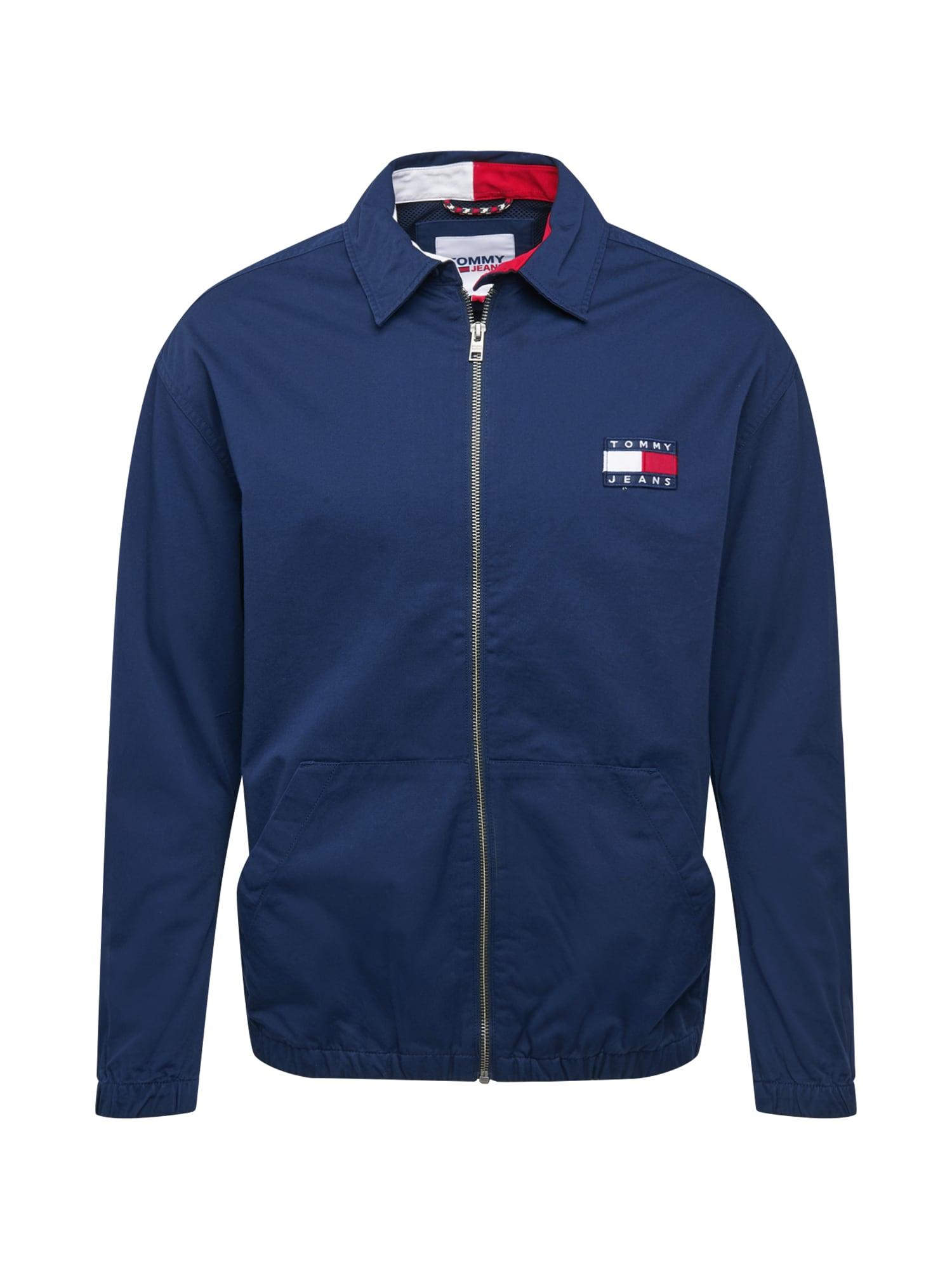 Tommy Jeans Demisezoninė striukė tamsiai mėlyna / balta / ugnies raudona