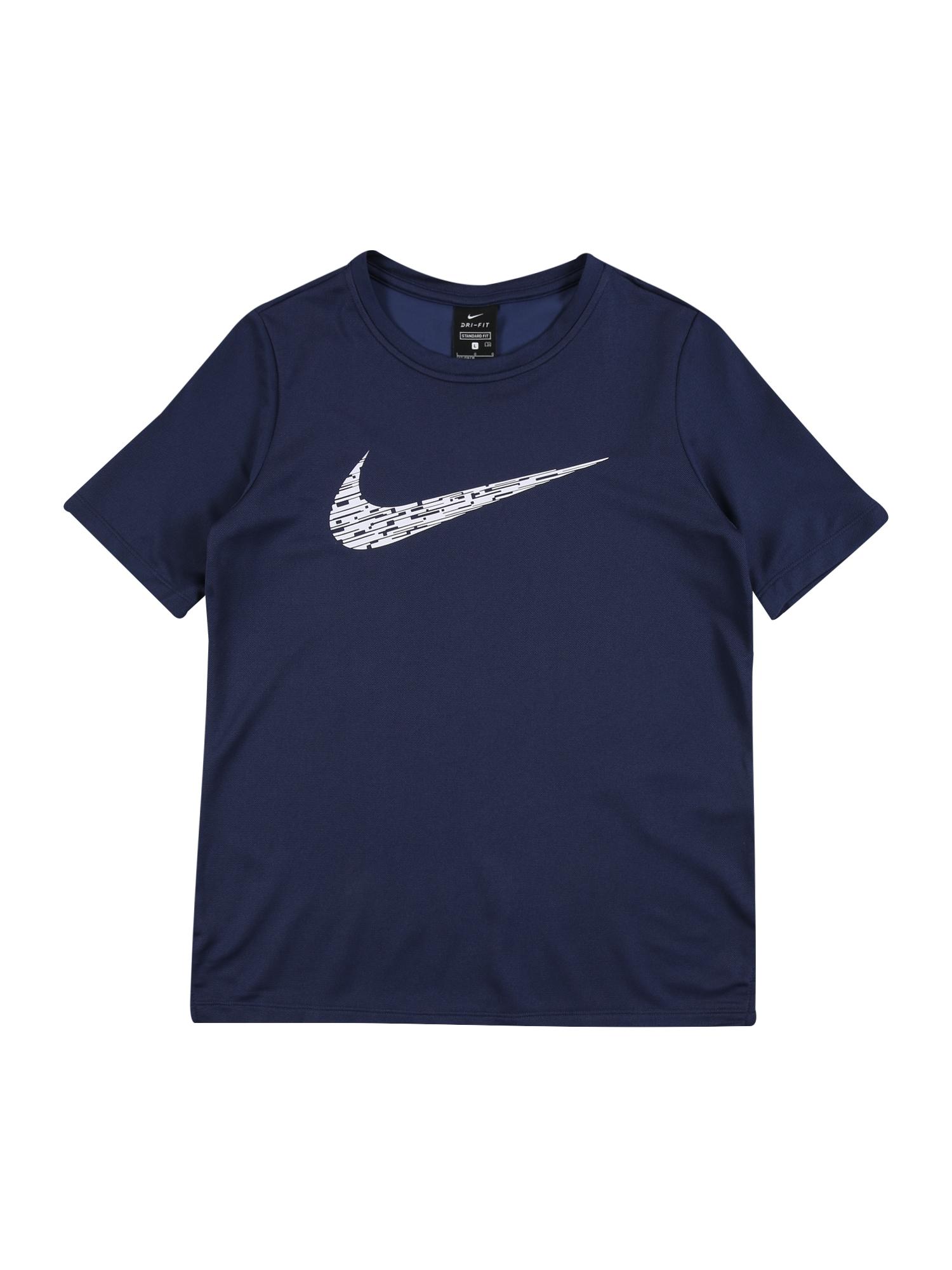 NIKE Funkční tričko  bílá / námořnická modř