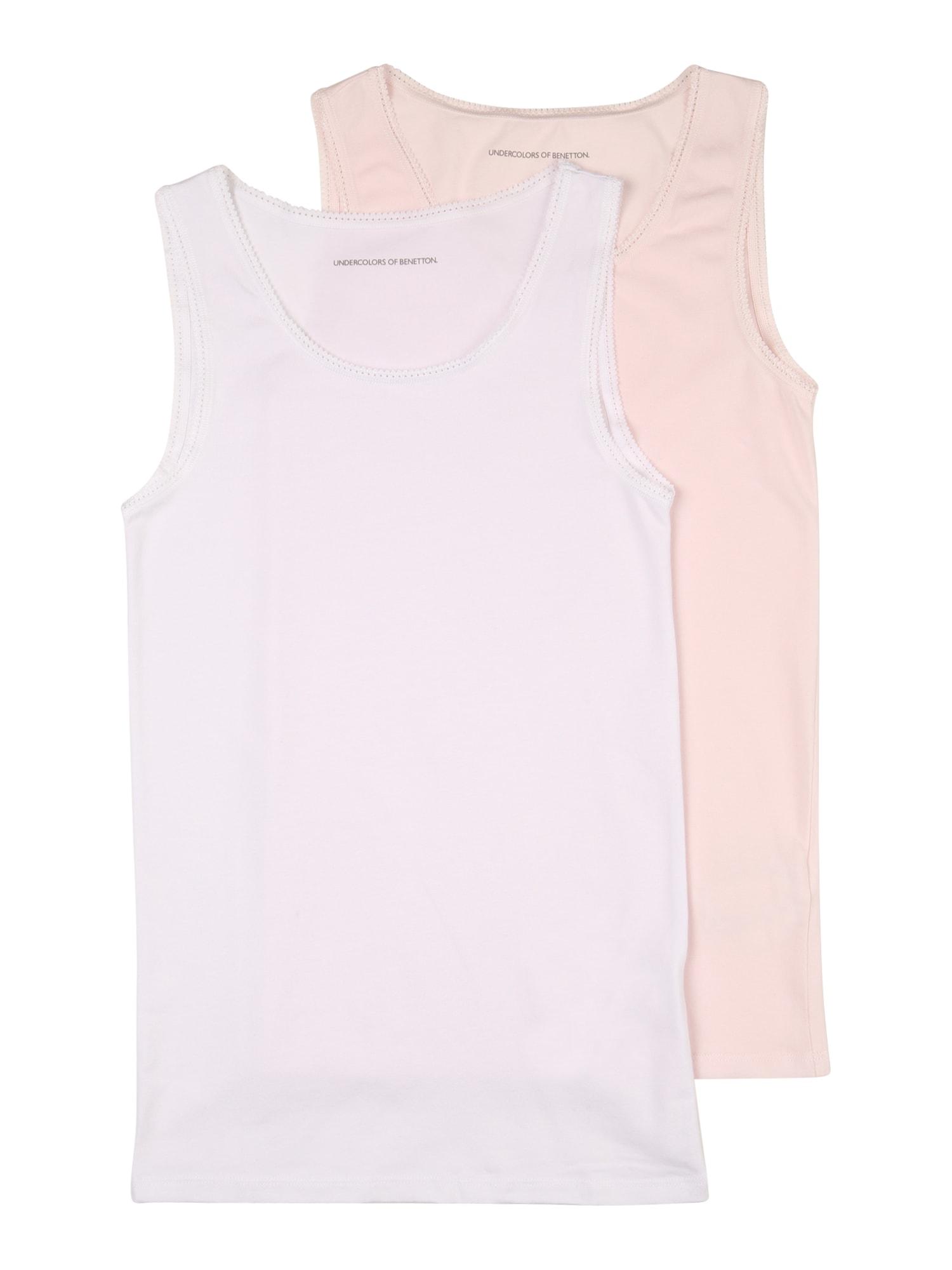UNITED COLORS OF BENETTON Apatiniai marškinėliai balta / rožių spalva