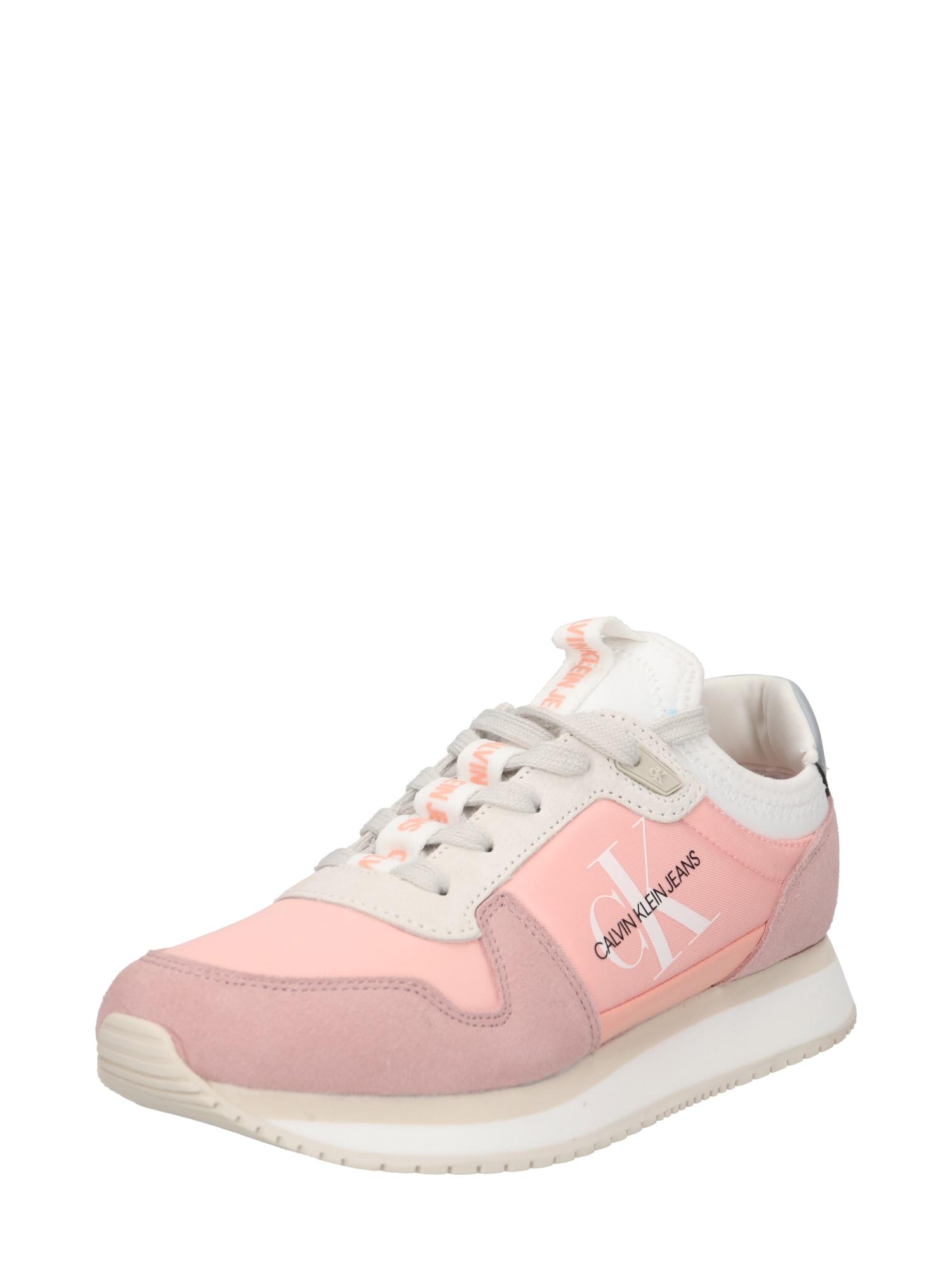 Calvin Klein Jeans Krojové kalhoty  růžová / světle šedá / růže / bílá