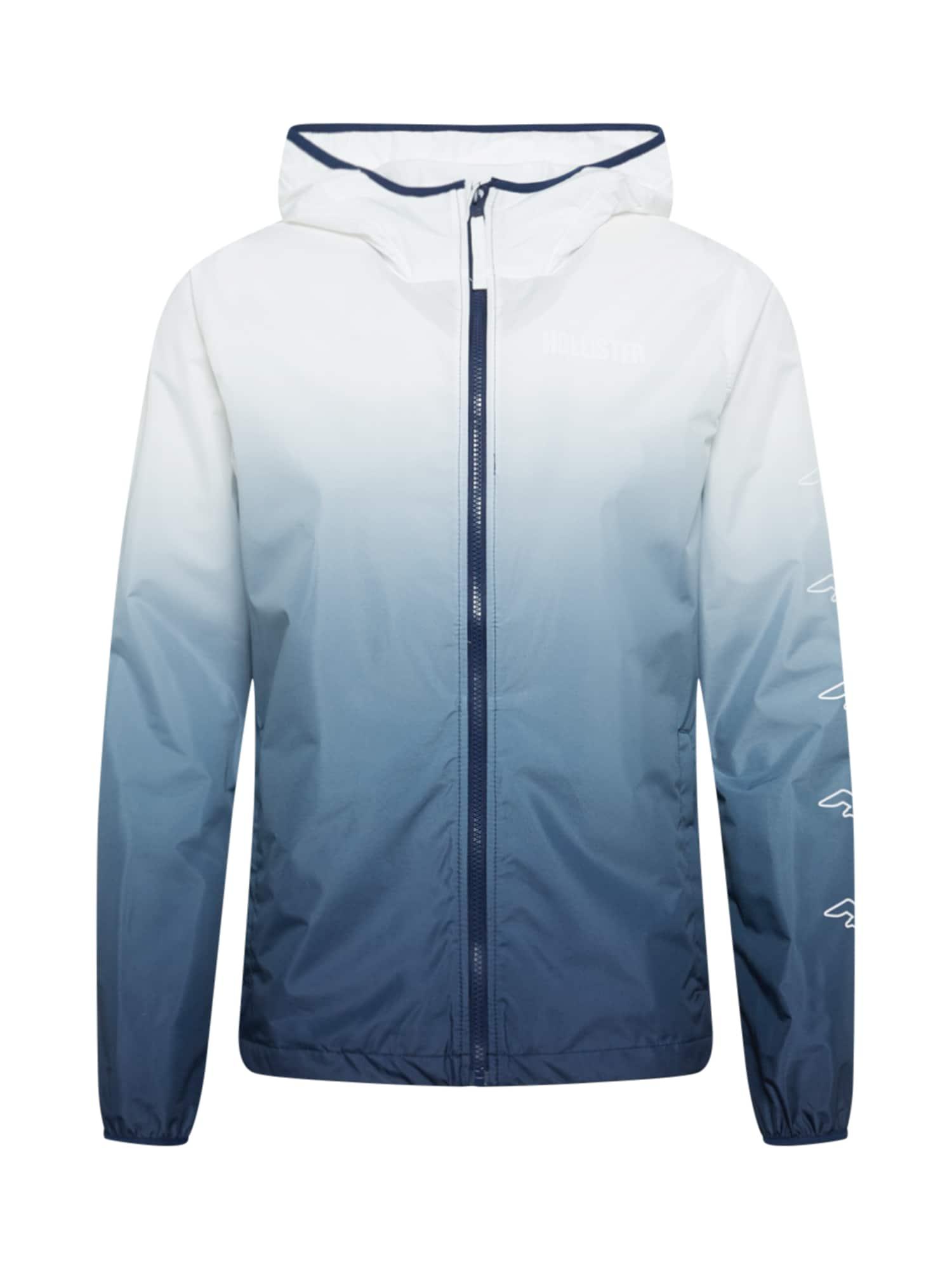 HOLLISTER Demisezoninė striukė balta / tamsiai mėlyna / mėlyna