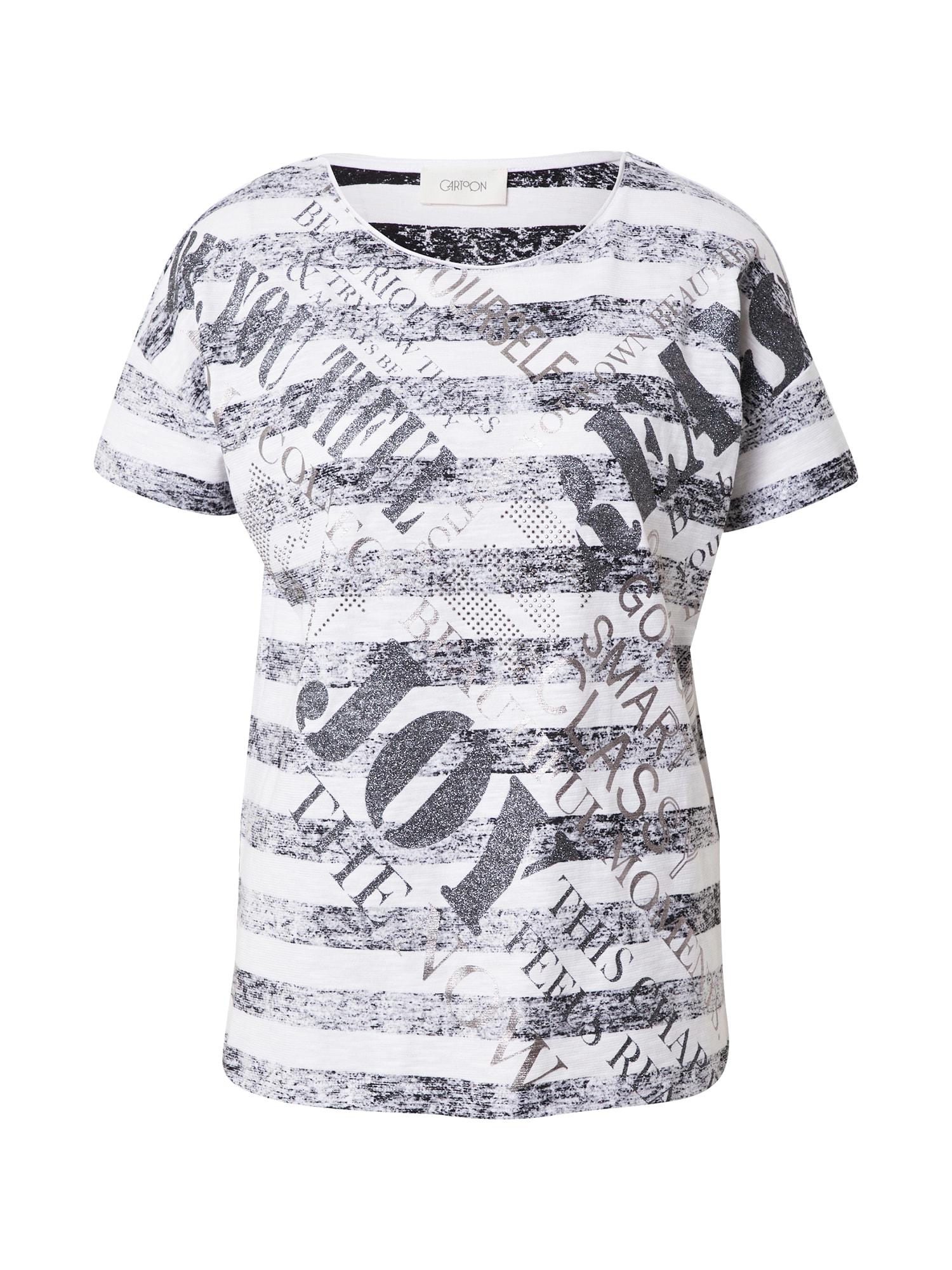 Cartoon Marškinėliai balta / juoda