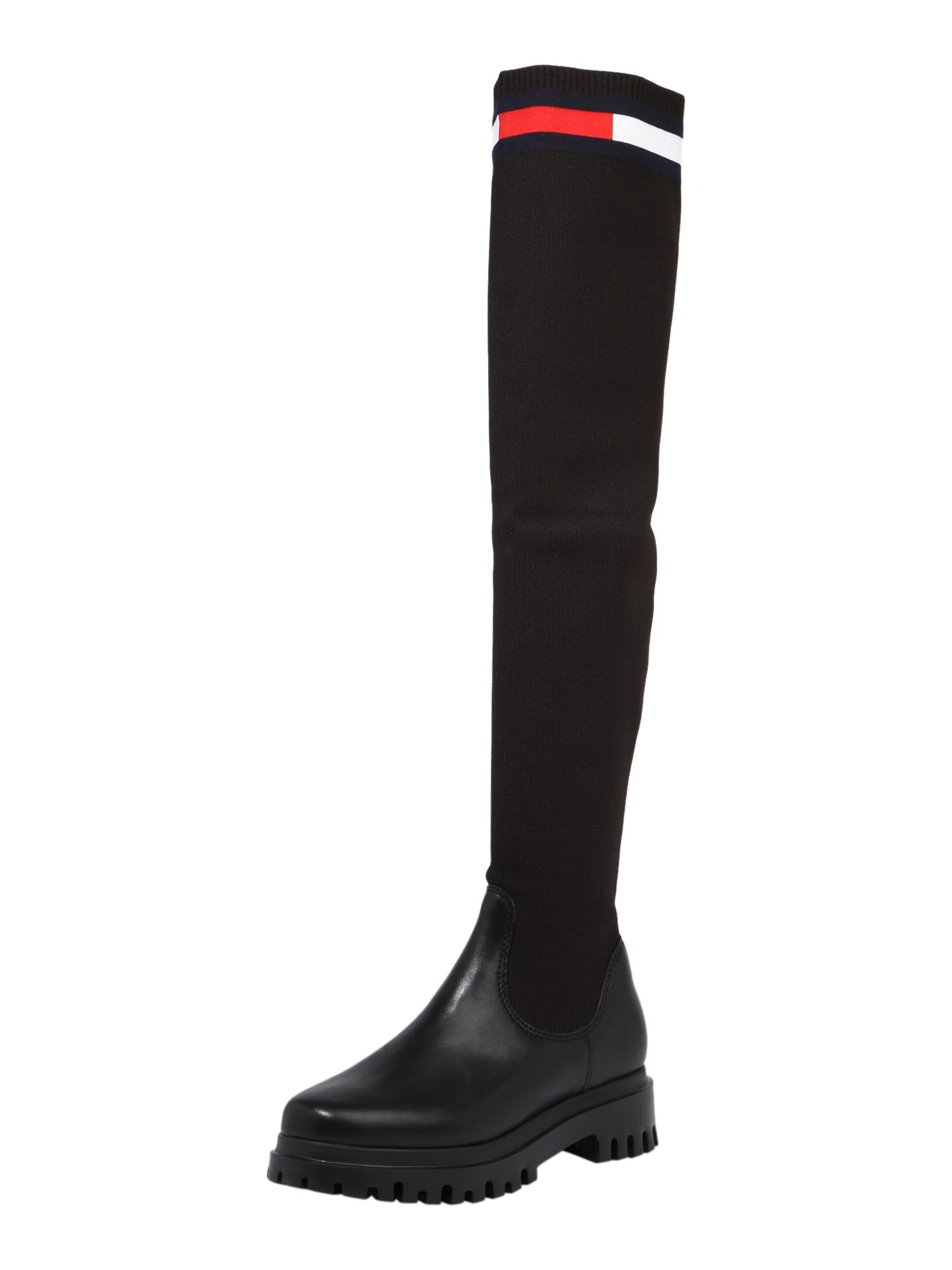 Tommy Jeans Kozačky nad kolena  černá / bílá / červená / námořnická modř